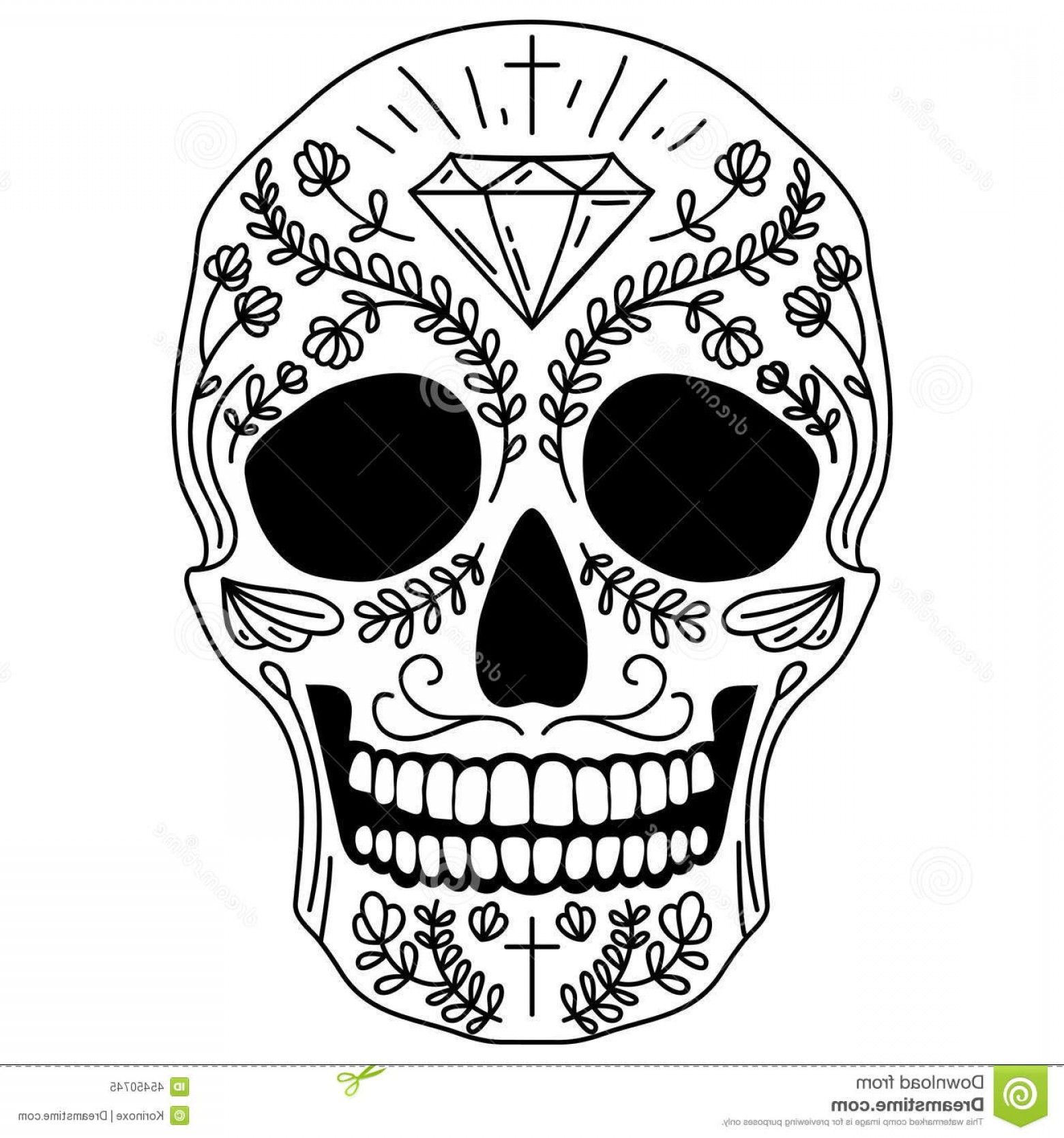 His And Hers Skulls Vector: Stock Illustration Black White Sugar Skull Vector Isolated Mexican Human Head Image
