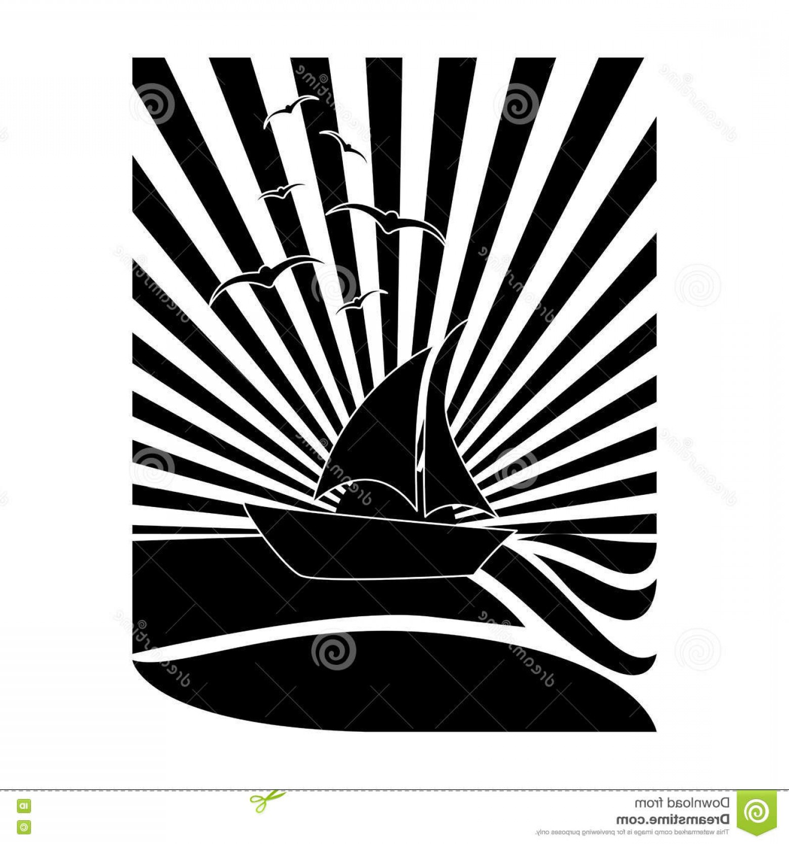 Sunset Black And White Backgrounds Vector: Stock Illustration Black White Tropical Sunset Icon Image Vector Illustration Design Image