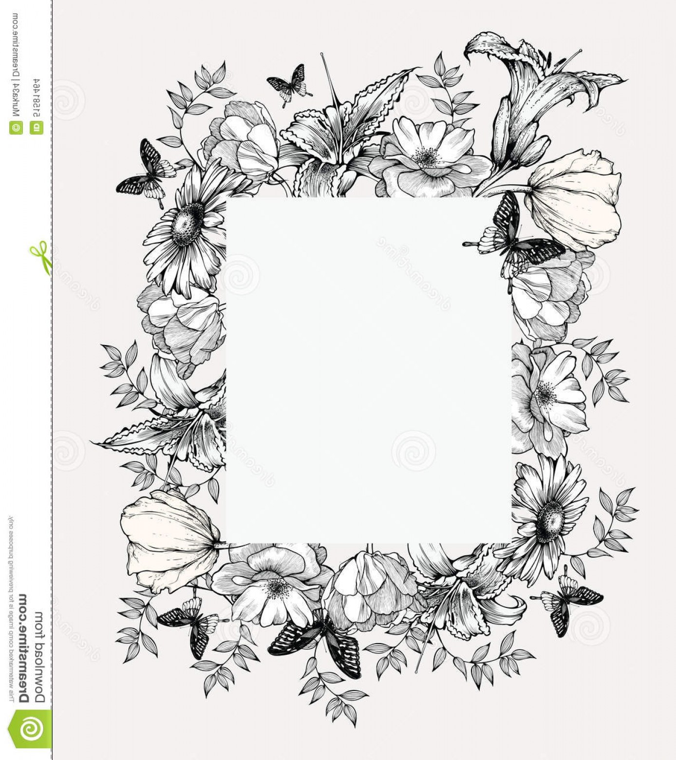 Stock Illustration Black White Vector Illustration Vintage Frame