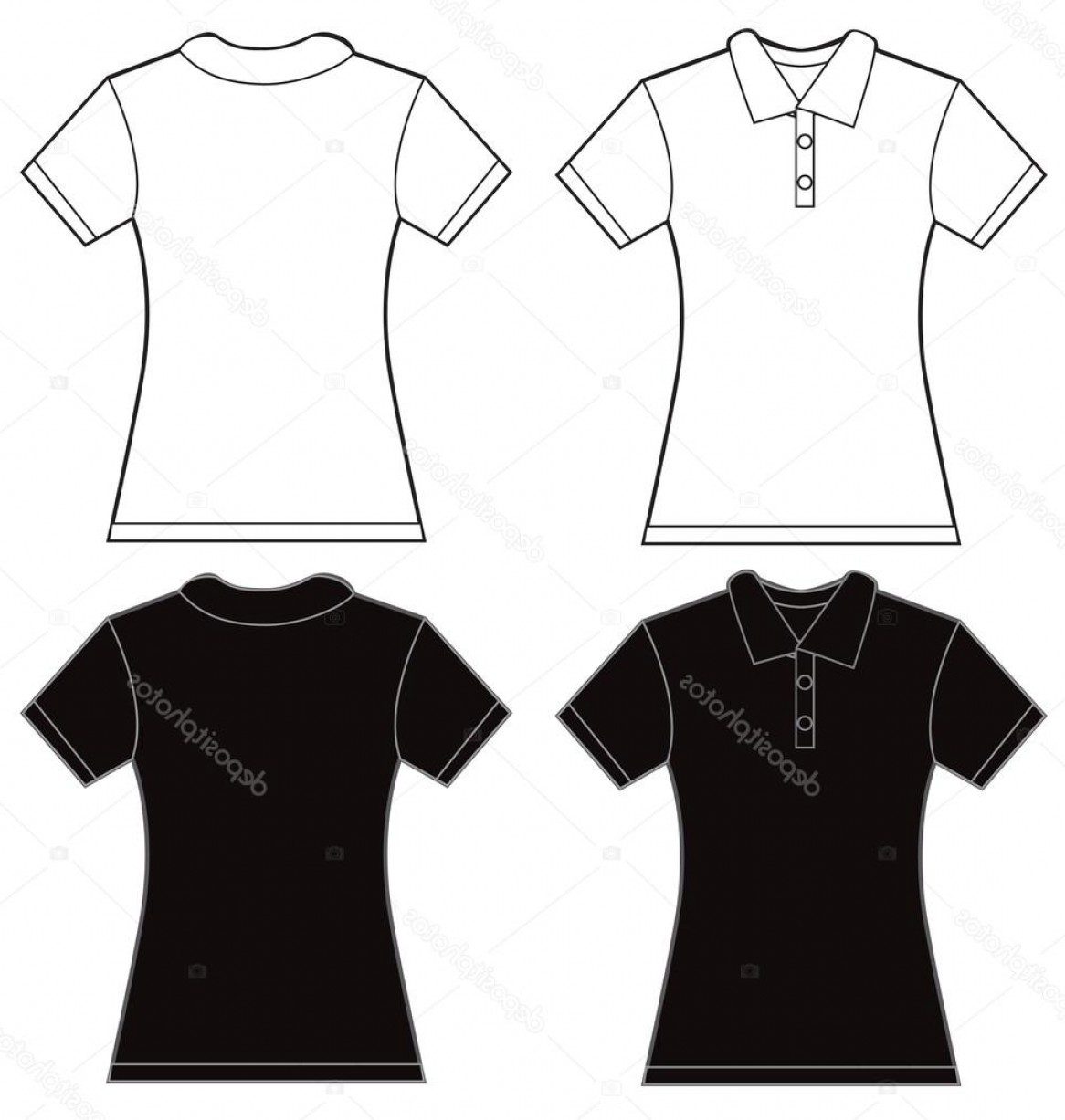 Female Polo Shirt Vector Template: Stock Illustration Black White Womens Polo Shirt