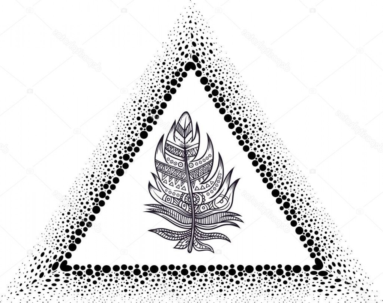 Dreamcatcher Tattoo Vector: Stock Illustration Blackwork Tattoo Flash Dreamcatcher Triangular