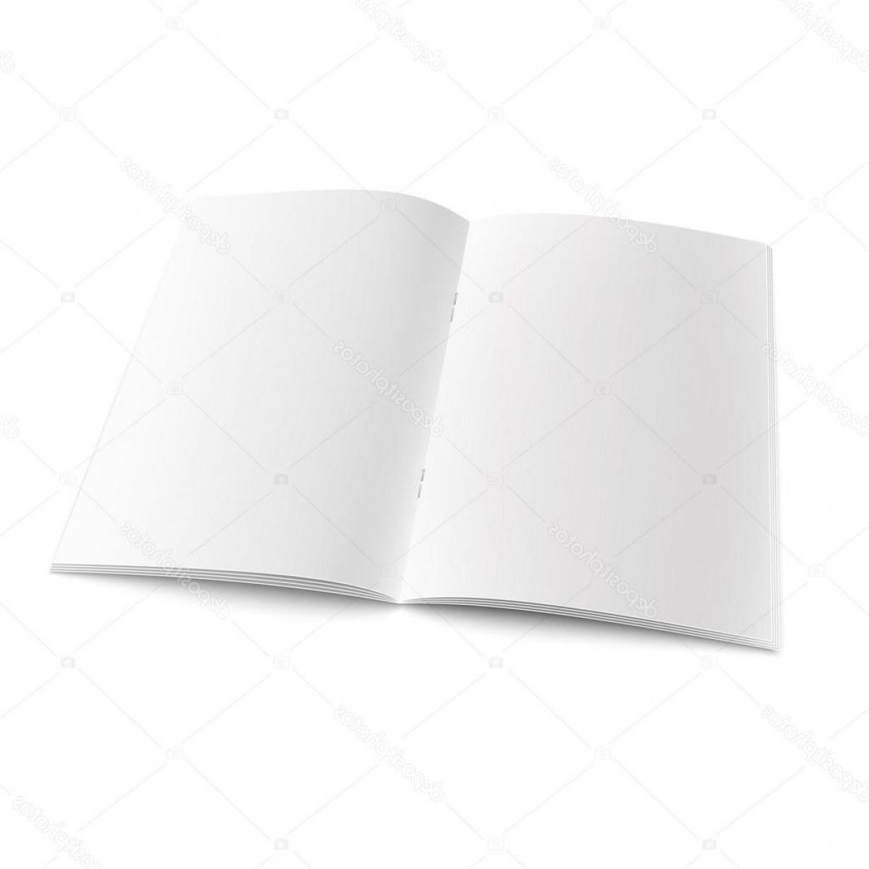 White Staples Vector Logo: Stock Illustration Blank Open Magazine Template With