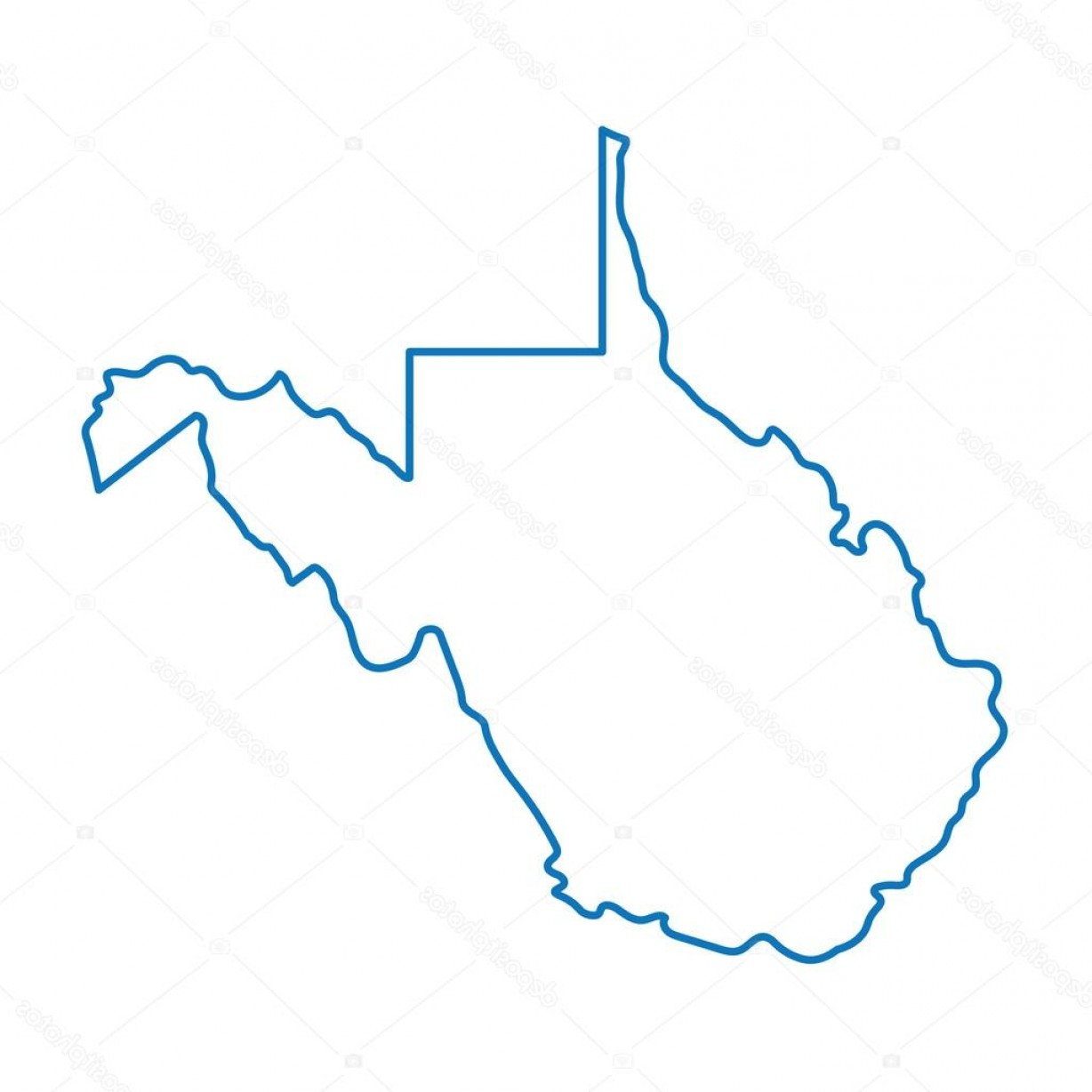 Virginia Vector: Stock Illustration Blue Abstract Outline Of West
