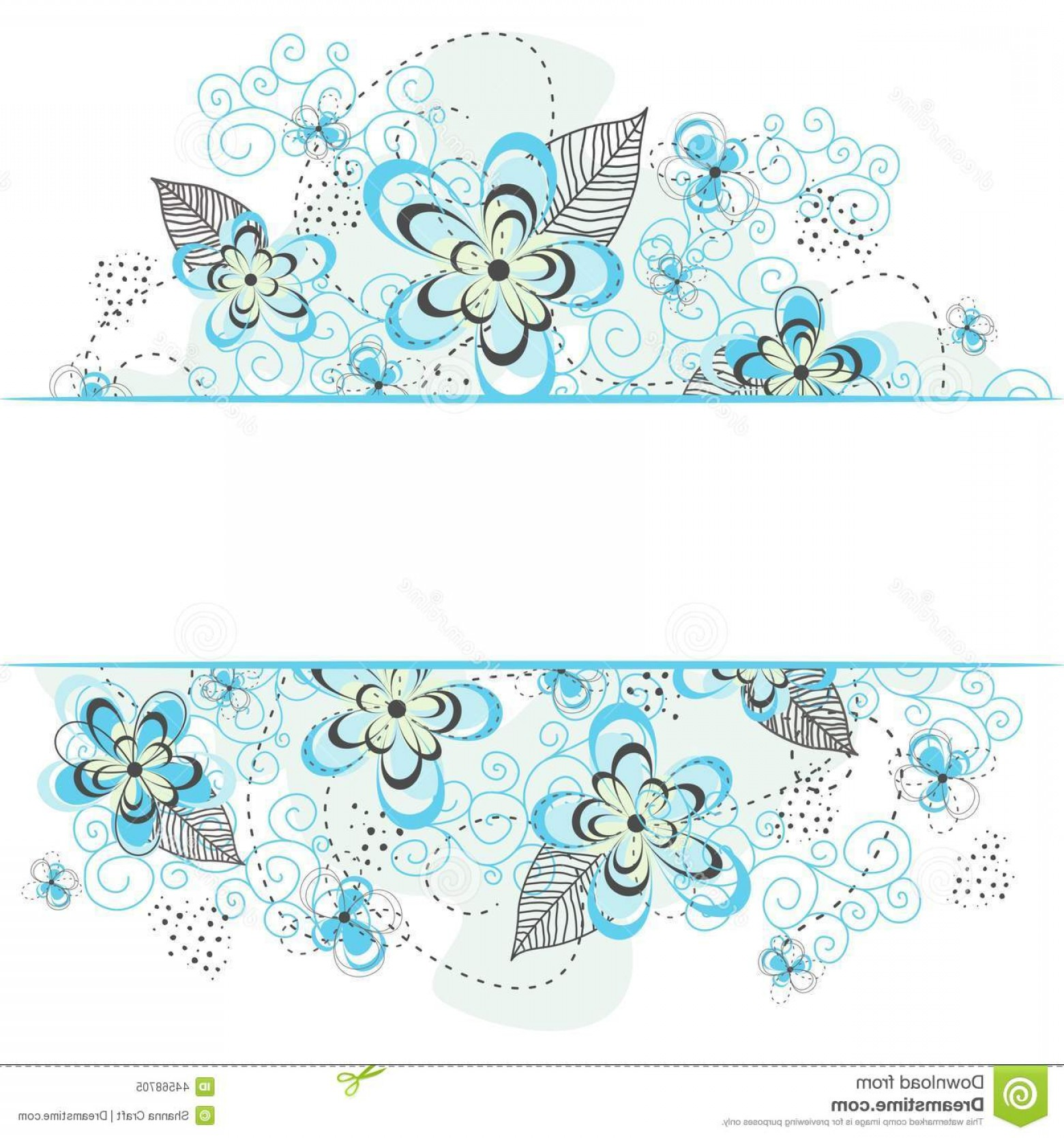 Turquoise Flower Vector: Stock Illustration Blue Floral Background Border Teal White Swirls Flowers Blooms Dots White Image