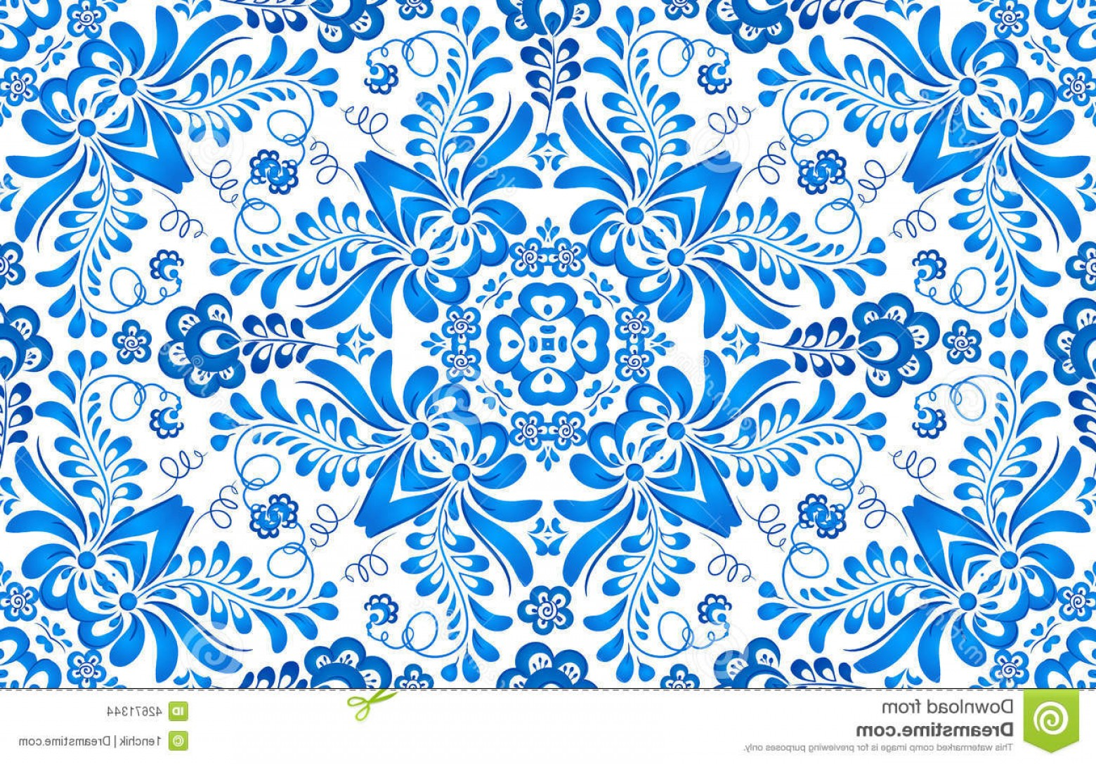 Russian Patterns Vector: Stock Illustration Blue Floral Seamless Pattern Russian Gzhel Vector Style Image