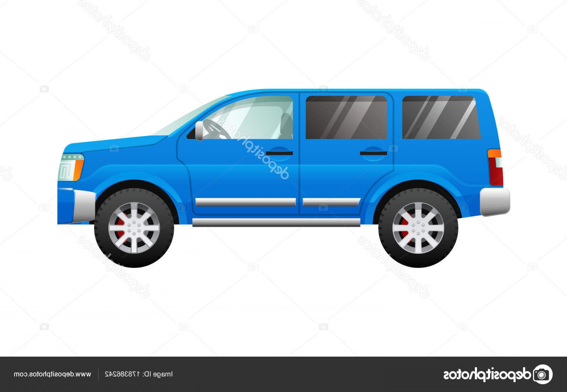 Jeep Vector Mean: Stock Illustration Blue Sport Utility Car In