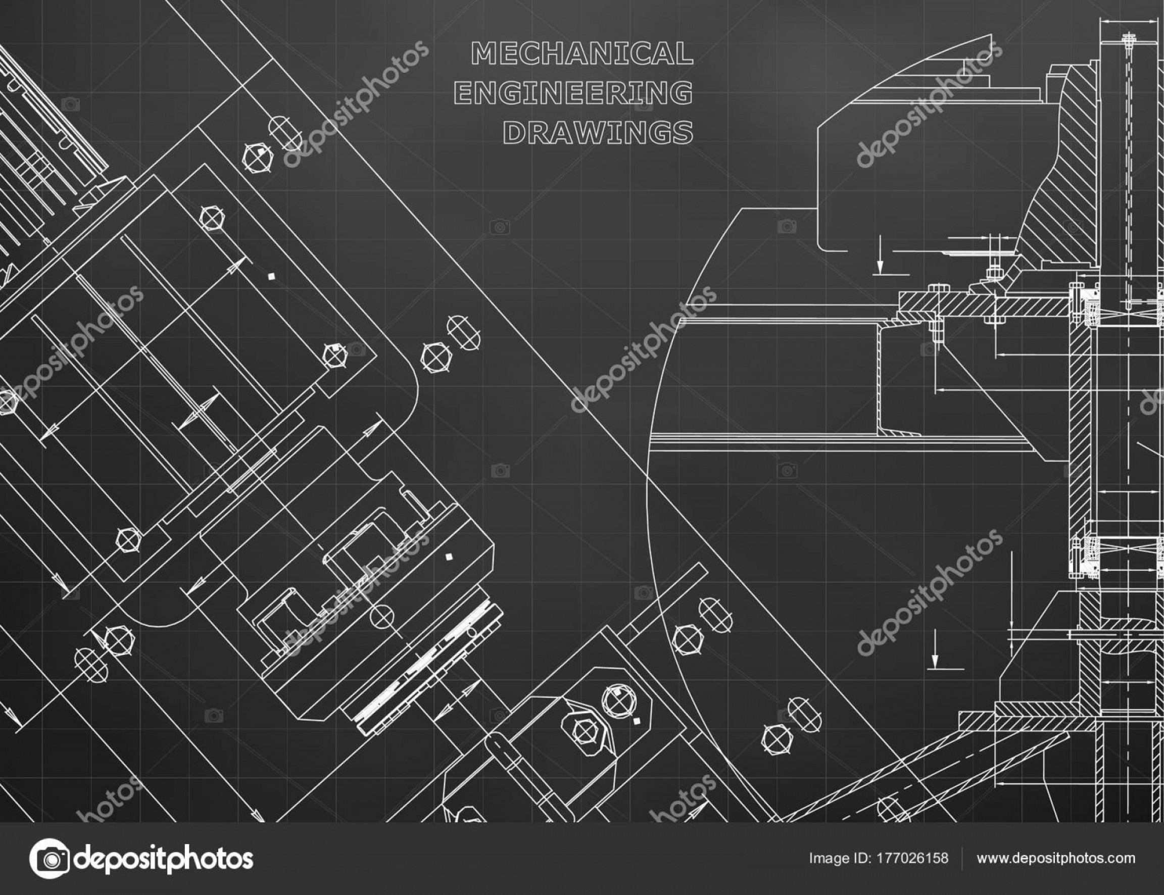 Residential Blueprint Vector Black: Stock Illustration Blueprints Mechanical Construction Technical Design