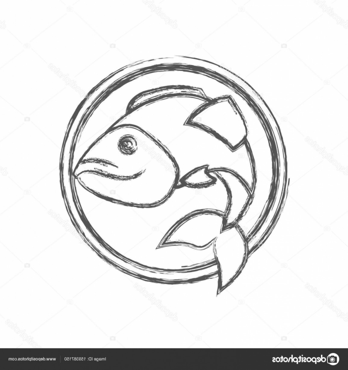 Largemouth Bass Silhouette Vector: Stock Illustration Blurred Sketch Silhouette Circular Emblem