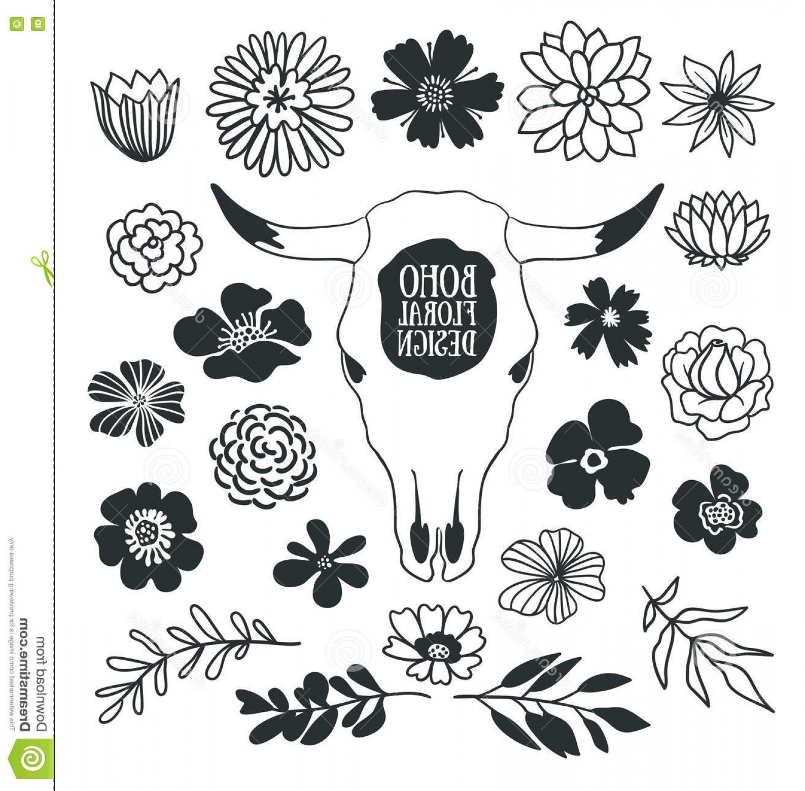 Bohemian Flowers Vector: Stock Illustration Boho Black Decorative Plants Flowers Collection Cow Skull Hand Drawn Vector Design Elements Isolated White Image