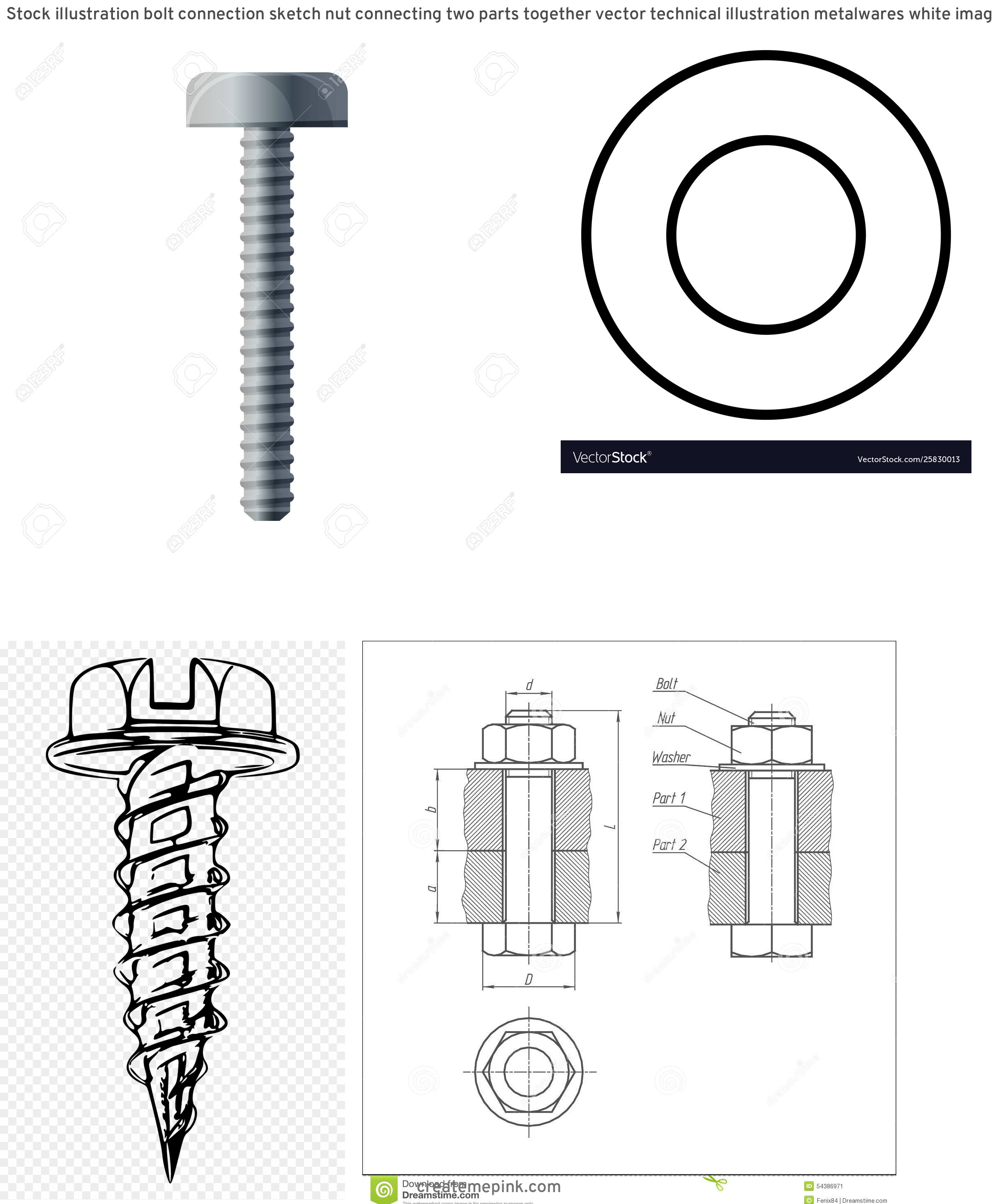 White Washer Bolt Vector: Stock Illustration Bolt Connection Sketch Nut Connecting Two Parts Together Vector Technical Illustration Metalwares White Image