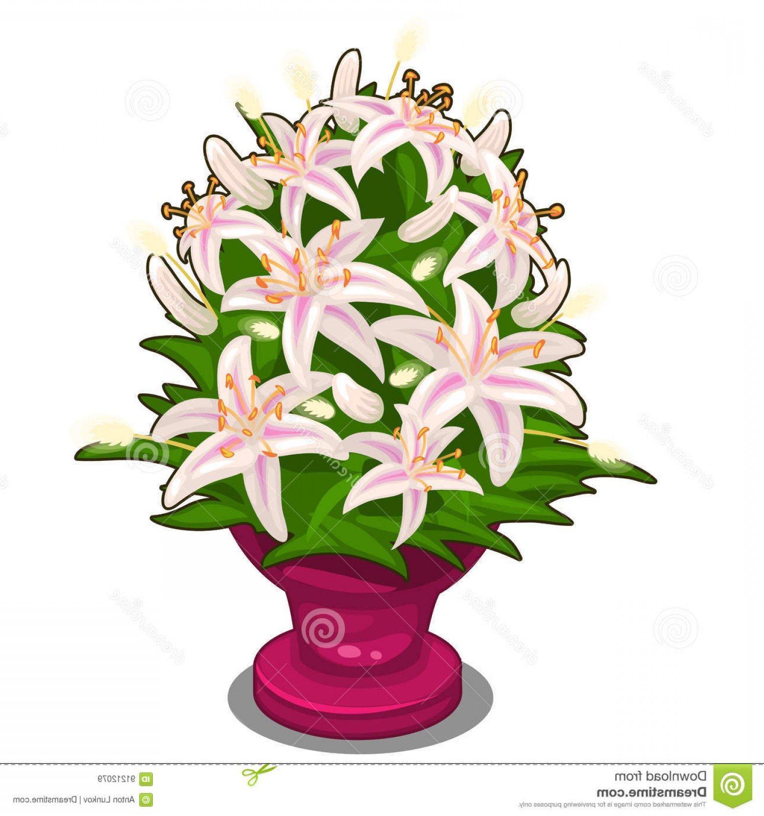 Vector Art Flowers In Vace: Stock Illustration Bouquet Pink Flowers Vase Vector Isolated Illustration Cartoon Style White Background Image Your Design Needs Image