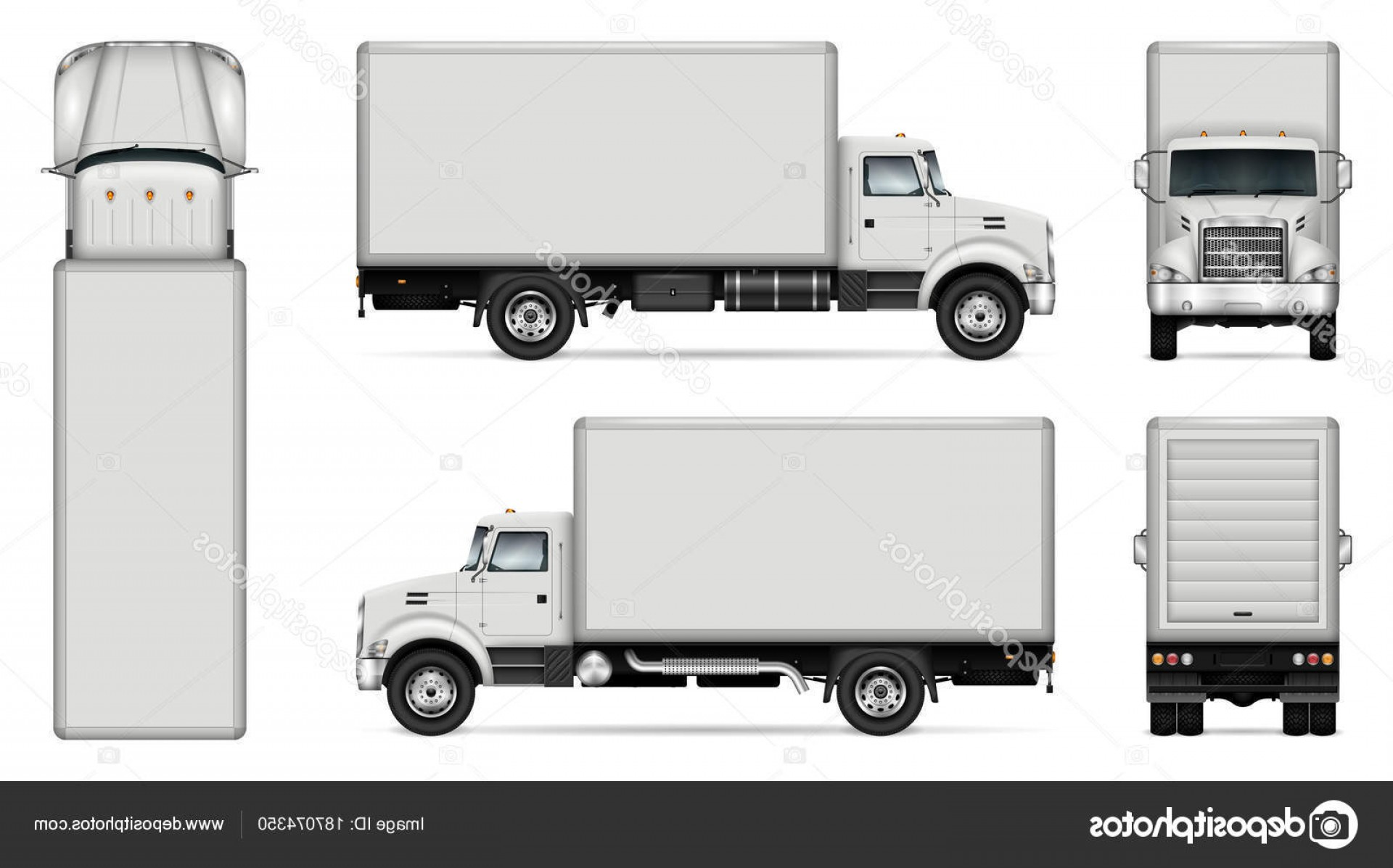 Packages On A Truck Vector: Stock Illustration Box Truck Vector Mockup