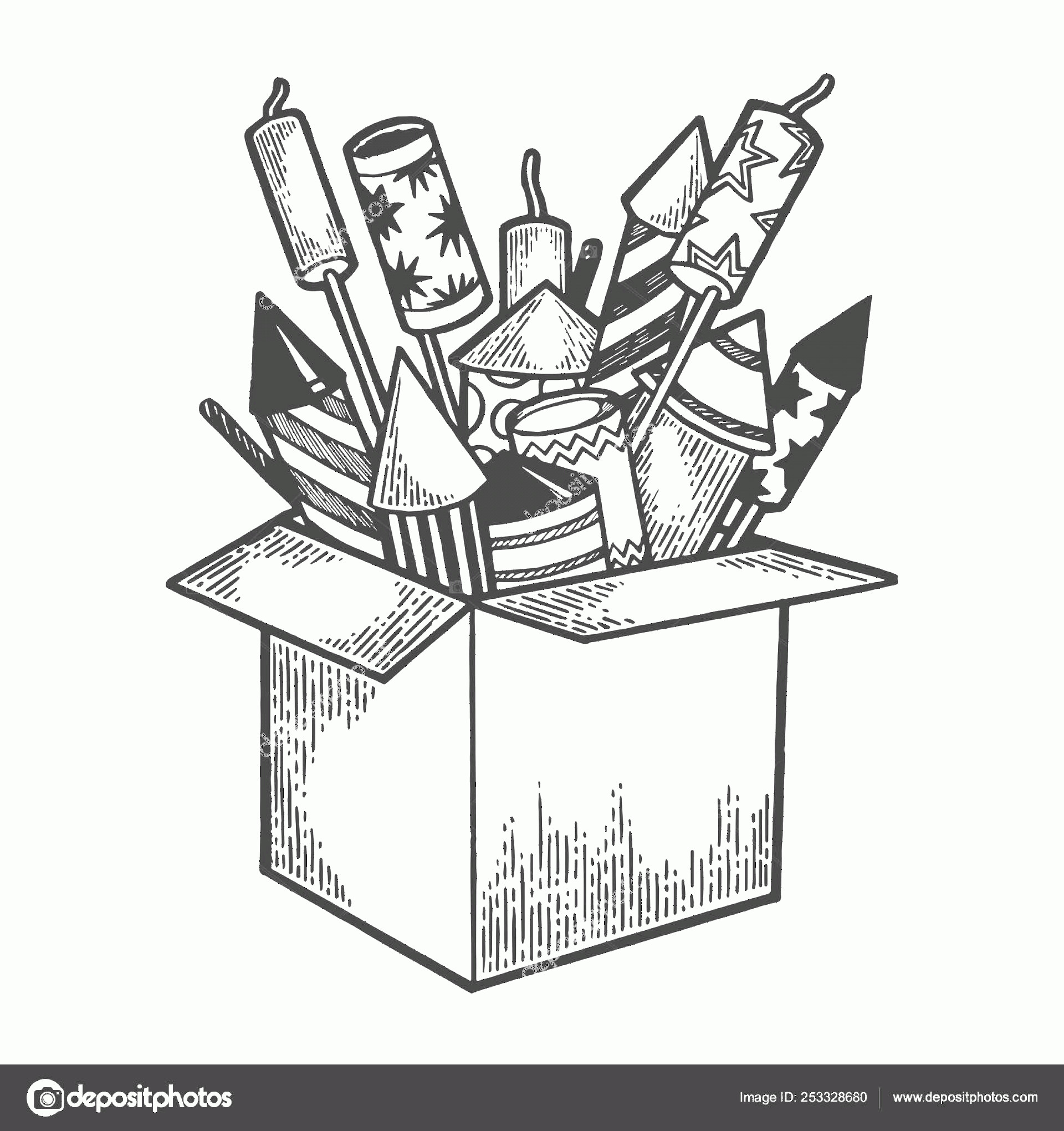 Firework Engraving Vector: Stock Illustration Box With Fireworks Rockets Sketch