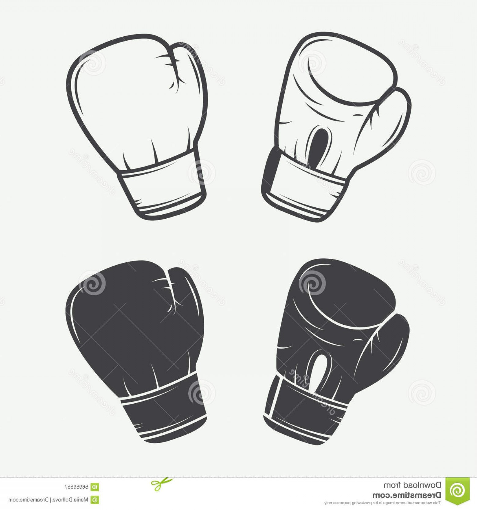 Pictures Of Boxing Gloves Vector Art: Stock Illustration Boxing Gloves Vintage Style Vector Illustration Image
