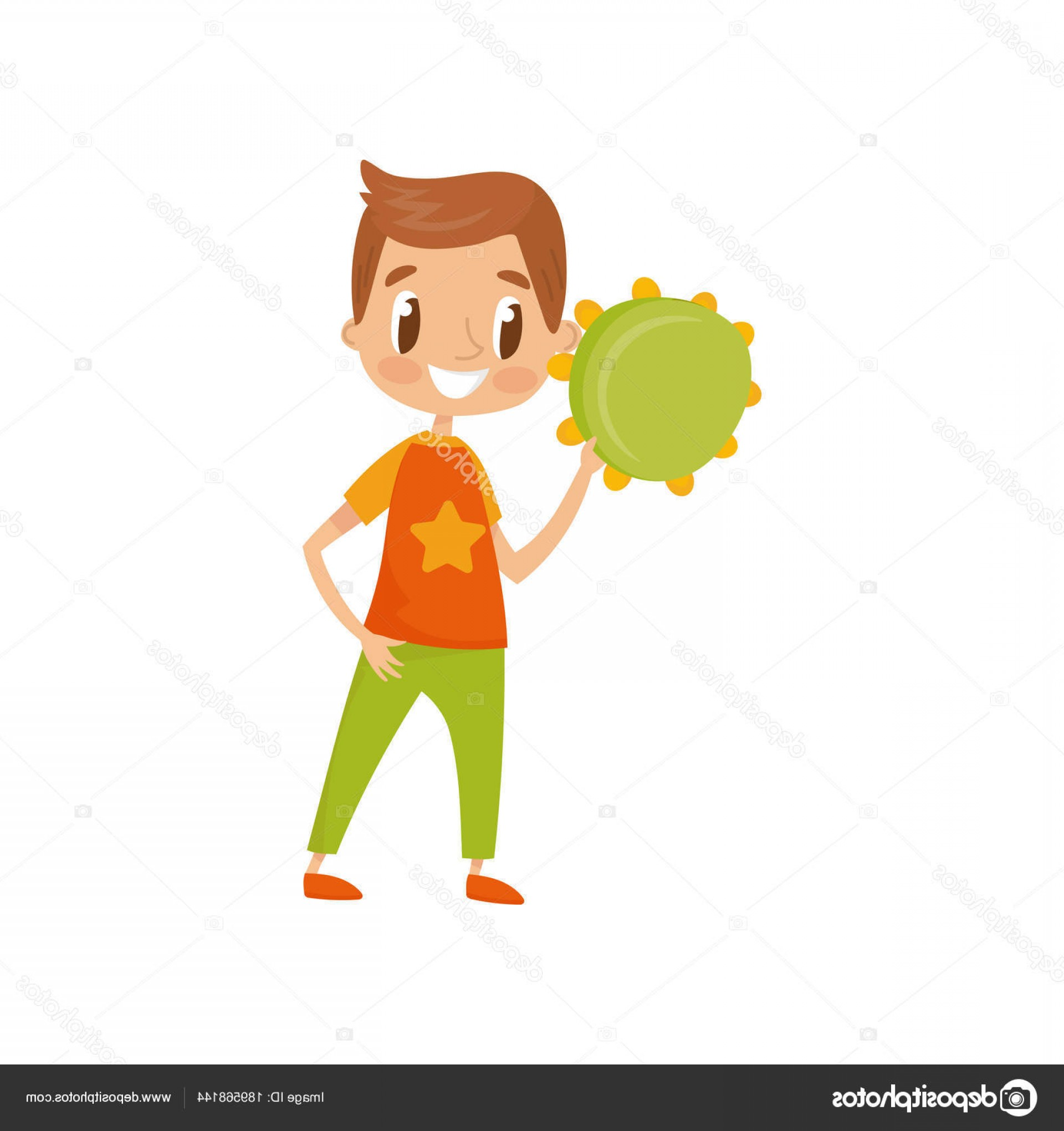 Musician Person Vector: Stock Illustration Boy Playing Tambourine Little Musician