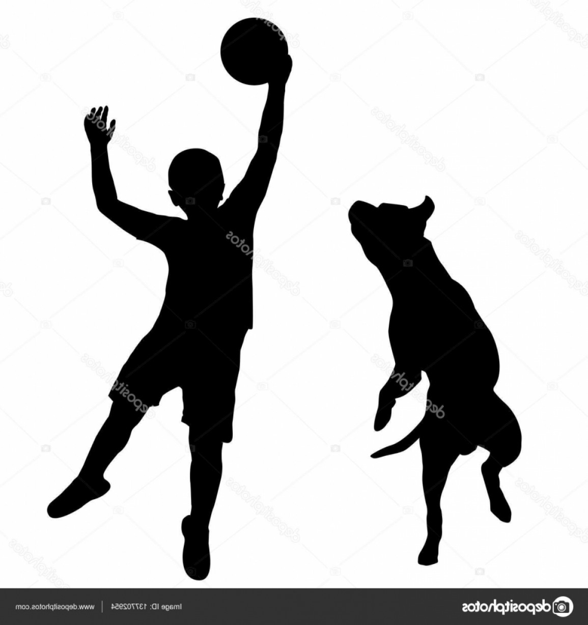 Volleyball Vector Dog Lady: Stock Illustration Boy Playing With Dog