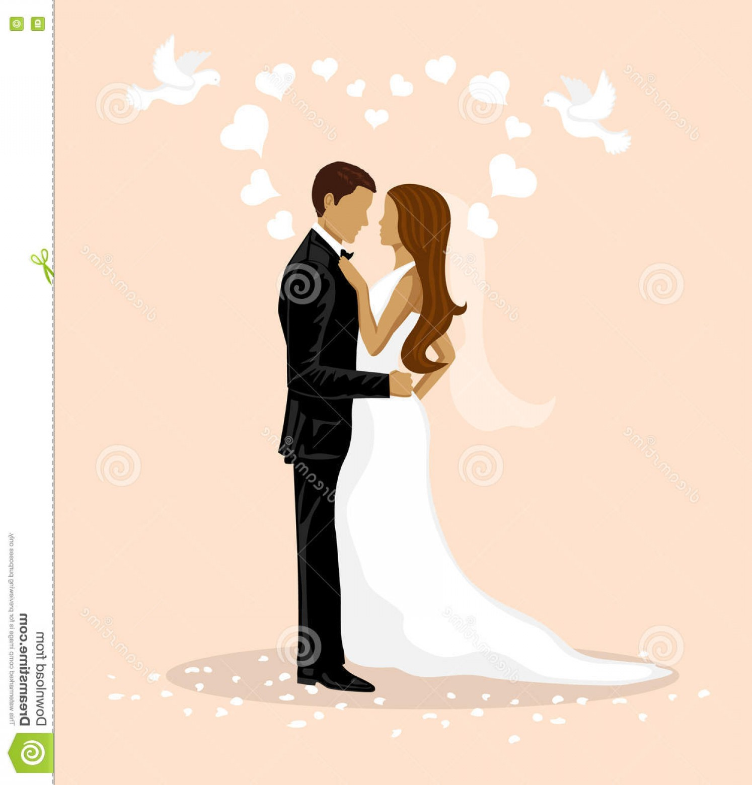 Married In Vegas Vector Art: Stock Illustration Bride Groom Illustration Just Married Funny Concept Wedding Games Image