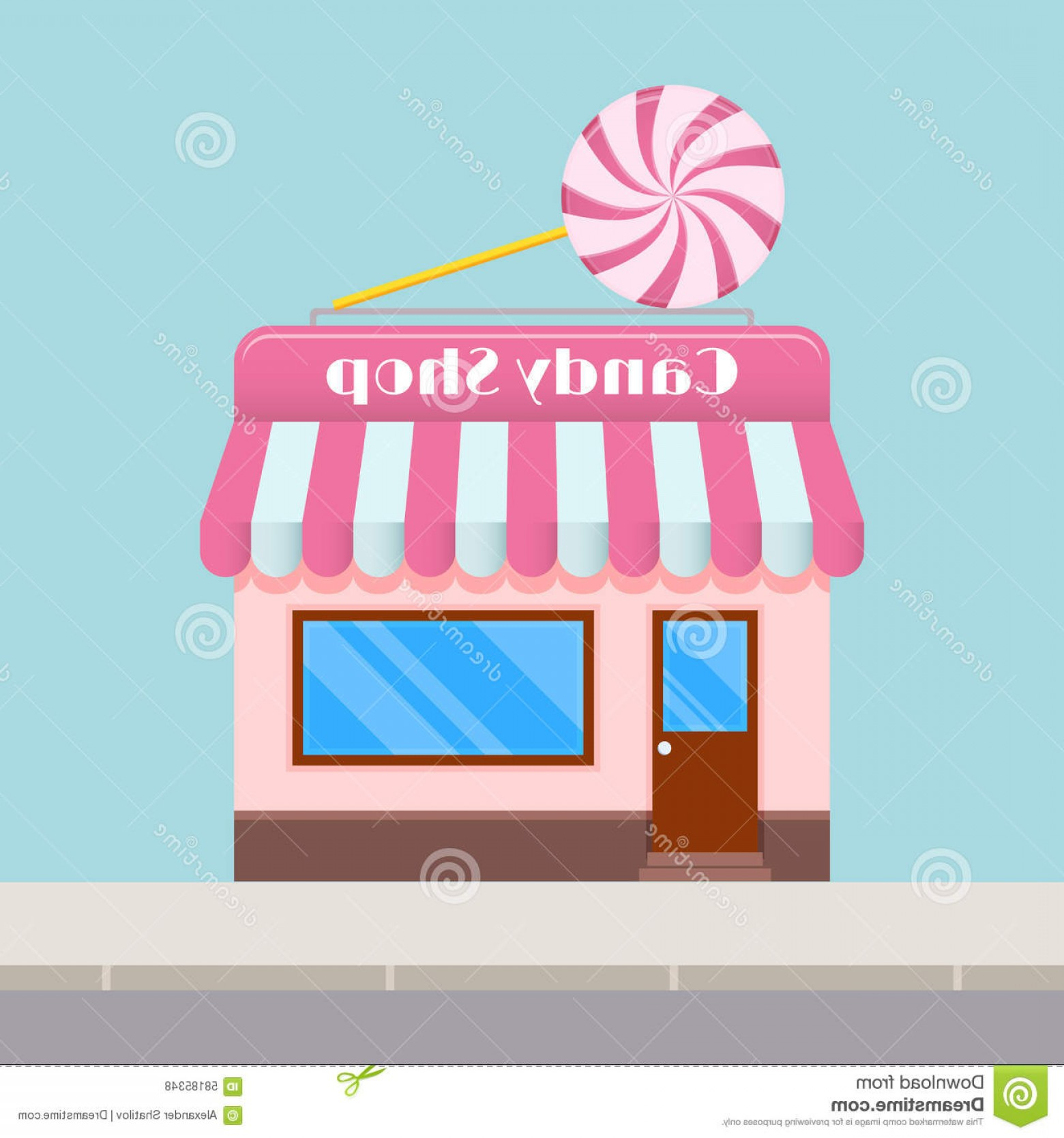 Candy Shop Vector: Stock Illustration Bright Cartoon Candy Store Canopy Flat Style Image