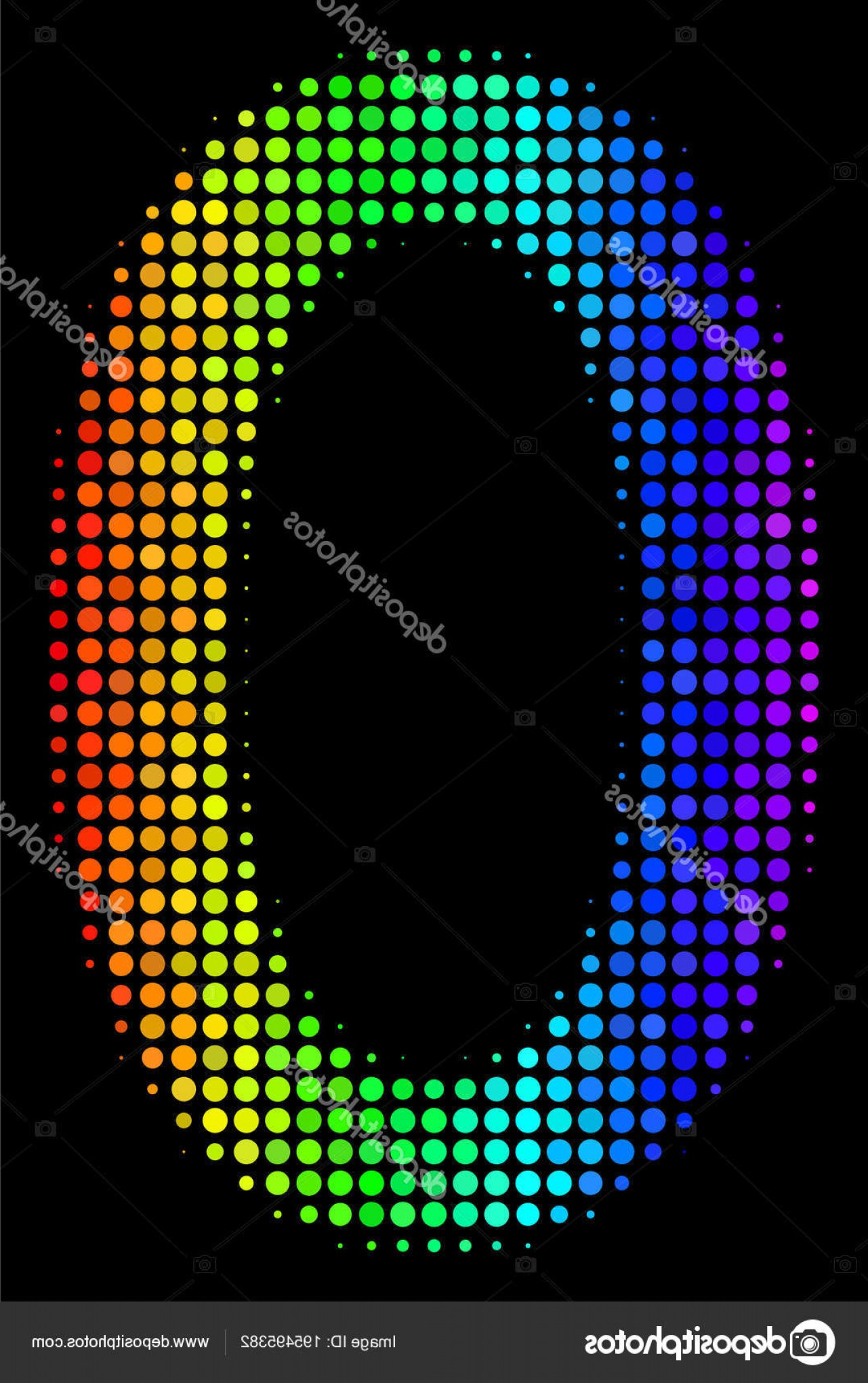 Null Vector Lighting: Stock Illustration Bright Dotted Zero Digit Icon