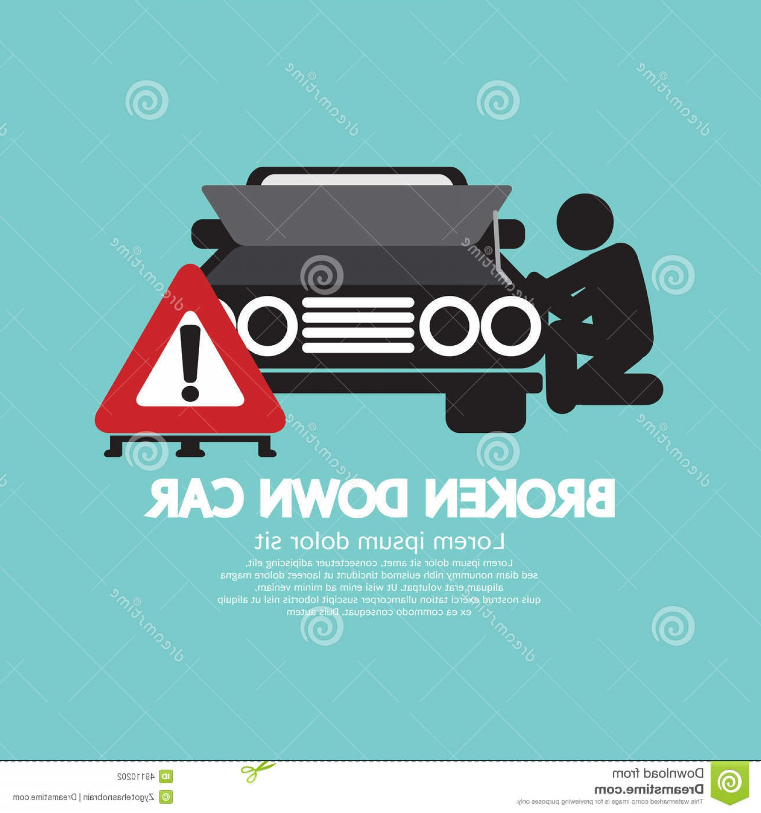 Fixing Car Vector: Stock Illustration Broken Down Car Symbol Vector Illustration Image