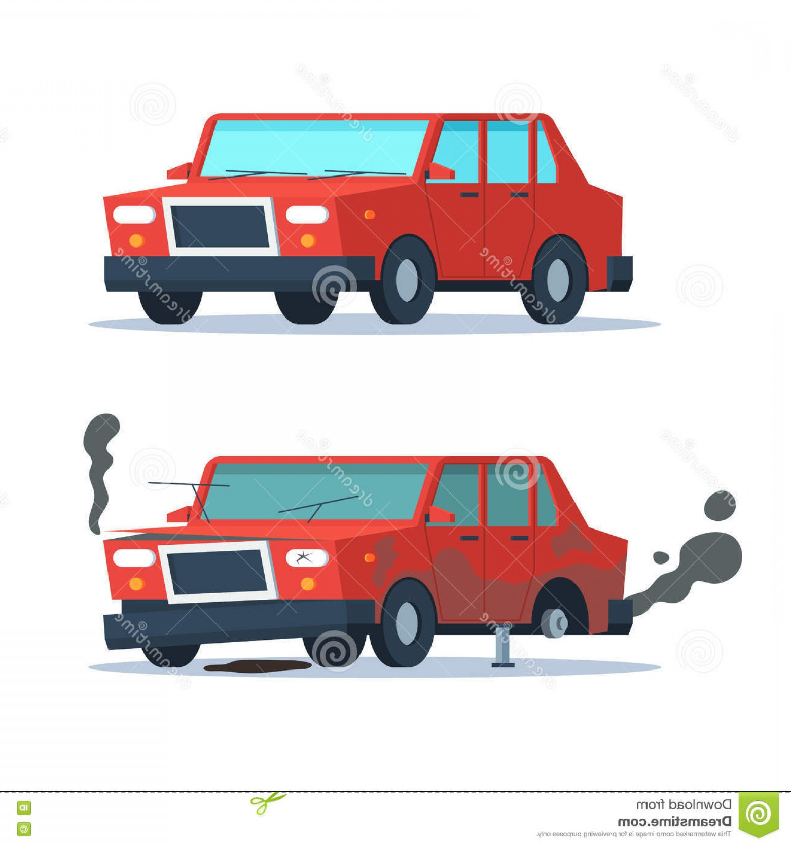Fixing Car Vector: Stock Illustration Broken Okay Car Sedan Vehicle Crash Road Accident Wrecked Vehicle New Vector Trendy Flat Cartoon Image
