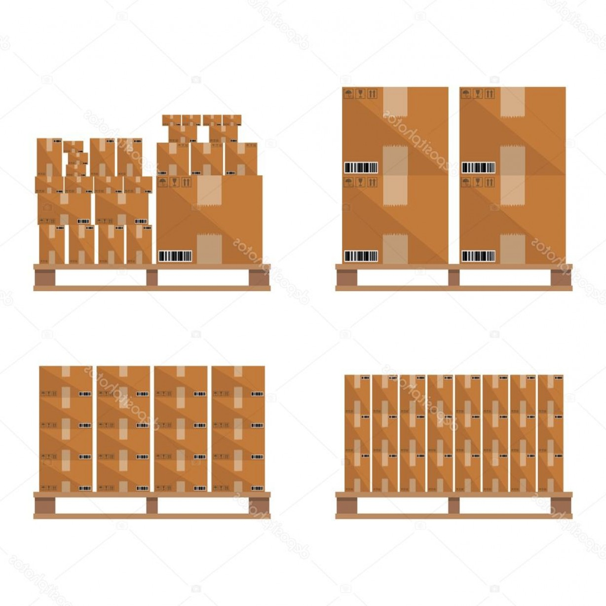 Pallet Vector Graphic: Stock Illustration Brown Carton Box Wooden Pallet