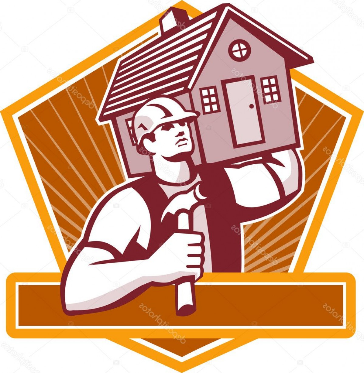 Vector Constructor: Stock Illustration Builder Carpenter Carry House Retro
