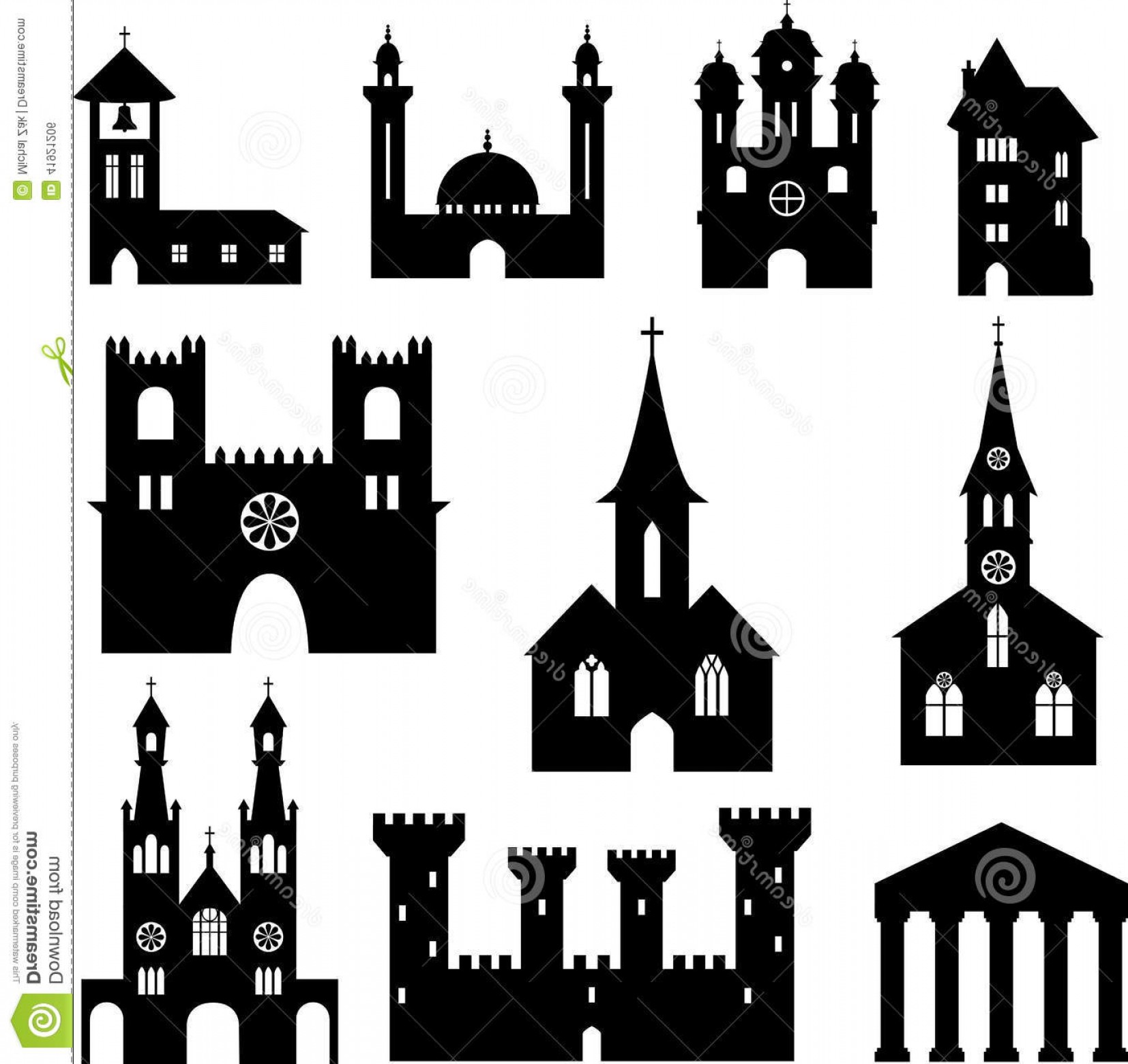 Church Silhouette Vector: Stock Illustration Buildings Set Silhouette Containing Churches Mosque Castles Image