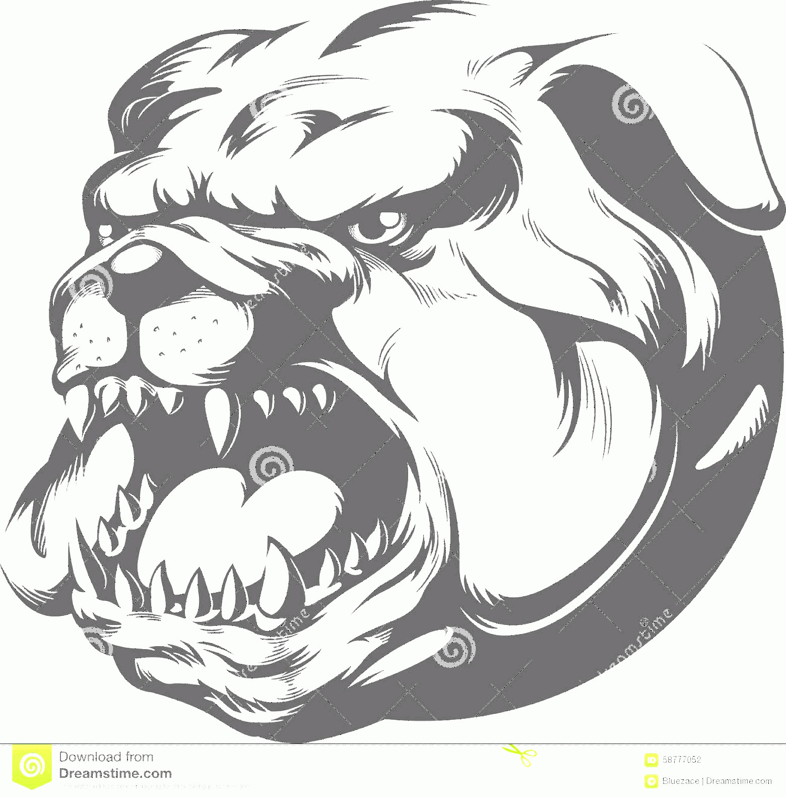 Angry Dog Vector Black And White: Stock Illustration Bull Dog Vector Silhouette Image Angry Very Good Design Needs Head Element Image