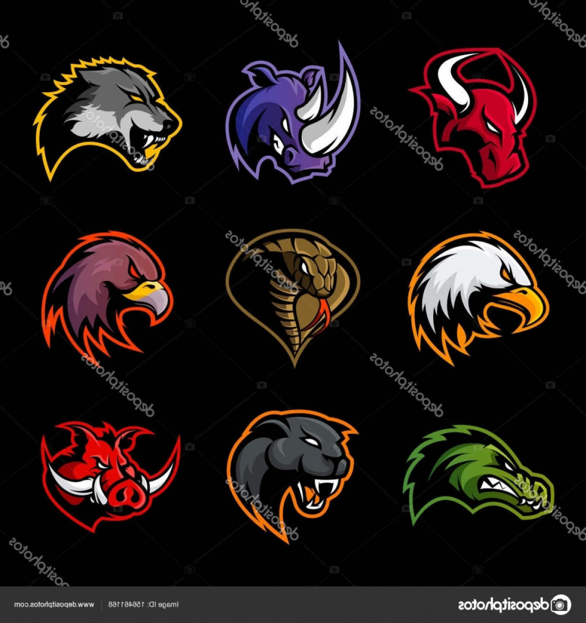 Vector Panther Football: Stock Illustration Bull Rhino Wolf Eagle Cobra