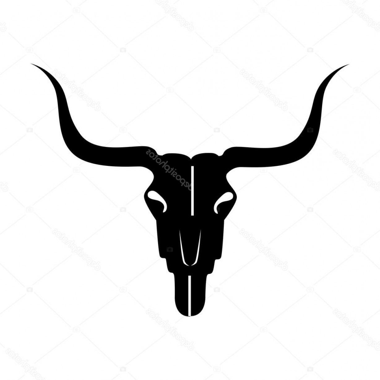 Longhorn Skull Vector: Stock Illustration Bull Skull Skeleton Icon Vector