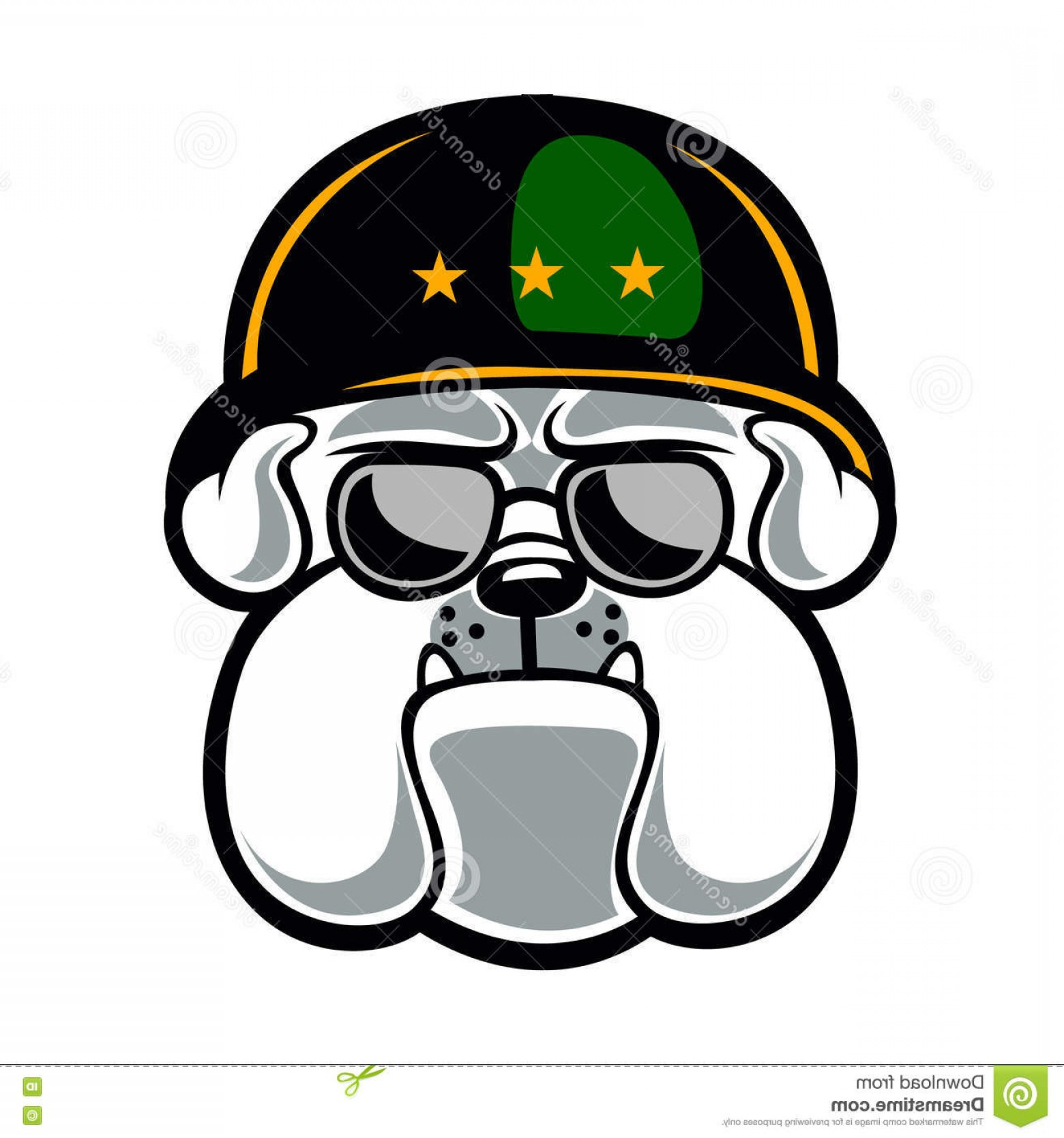 Marine Bulldog Logo In Vector: Stock Illustration Bulldog Army Mascot Cartoon Illustration Image
