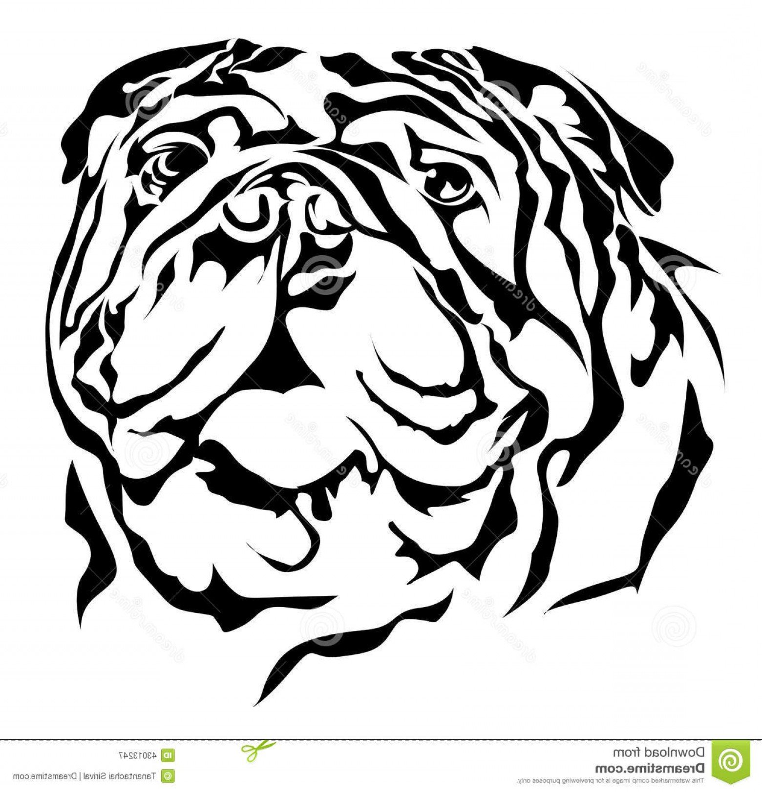 Bulldog Vector Art: Stock Illustration Bulldog Vector Silhouette White Background Image