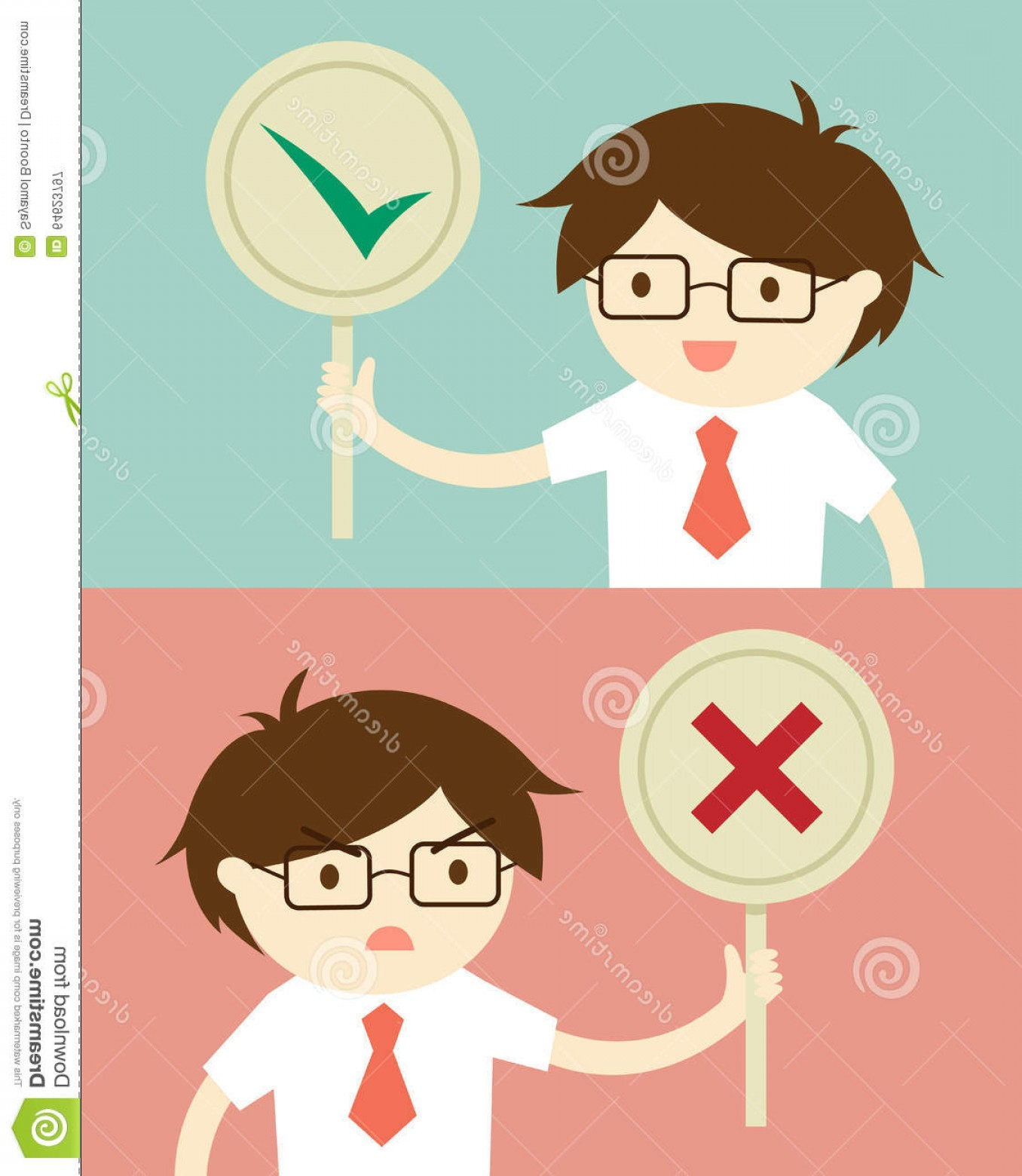 False Vector Style: Stock Illustration Business Concept Businessman Holding True False Sign Vector Illustration Flat Design Style Cartoon Image
