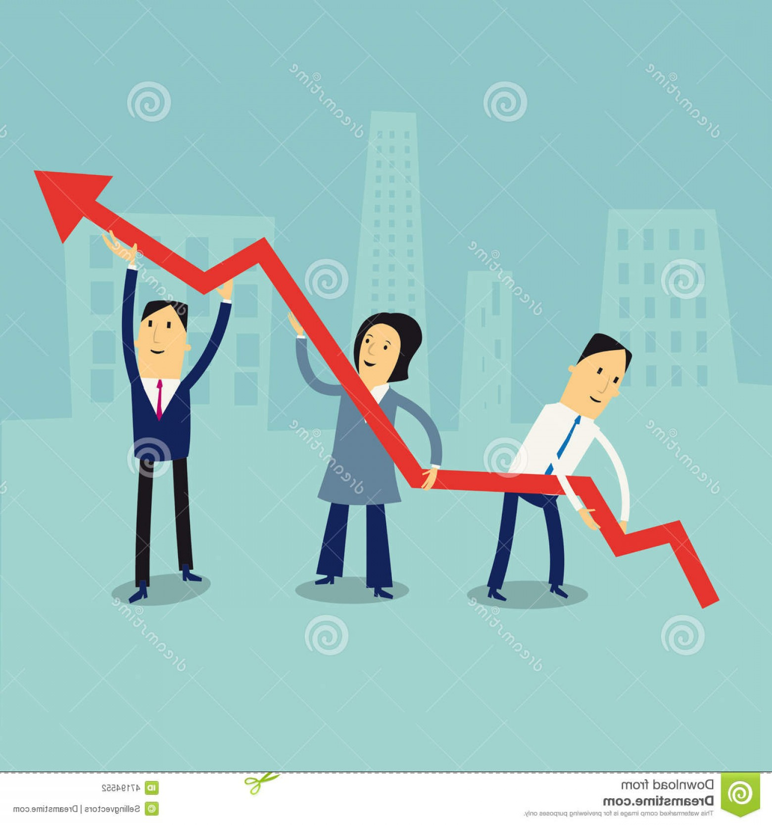 Growth Vector People: Stock Illustration Business Growth Concept Group Cartoon People Holding Growing Red Arrow Image
