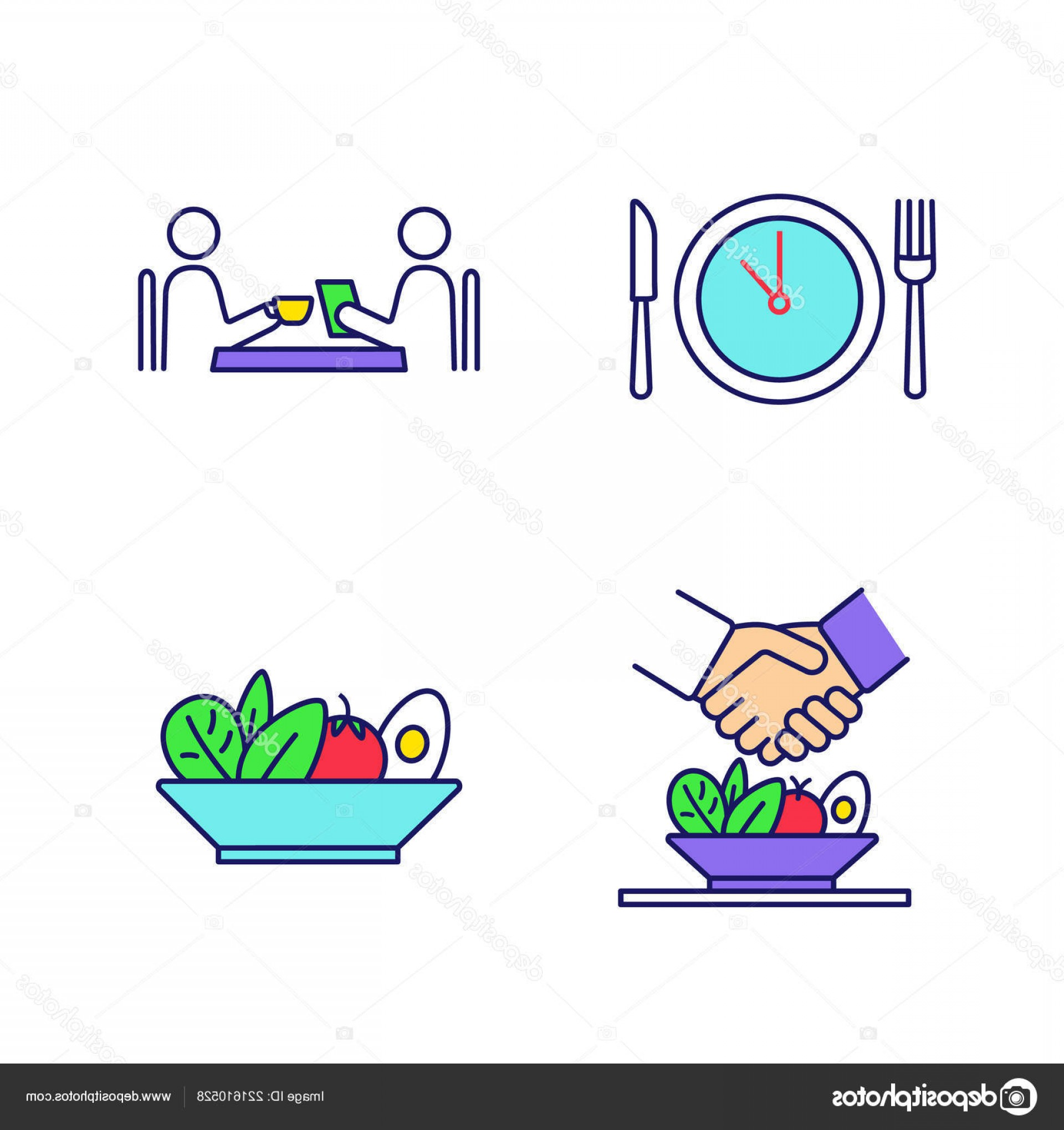 Business Lunch Clip Art Vector: Stock Illustration Business Lunch Color Icons Set