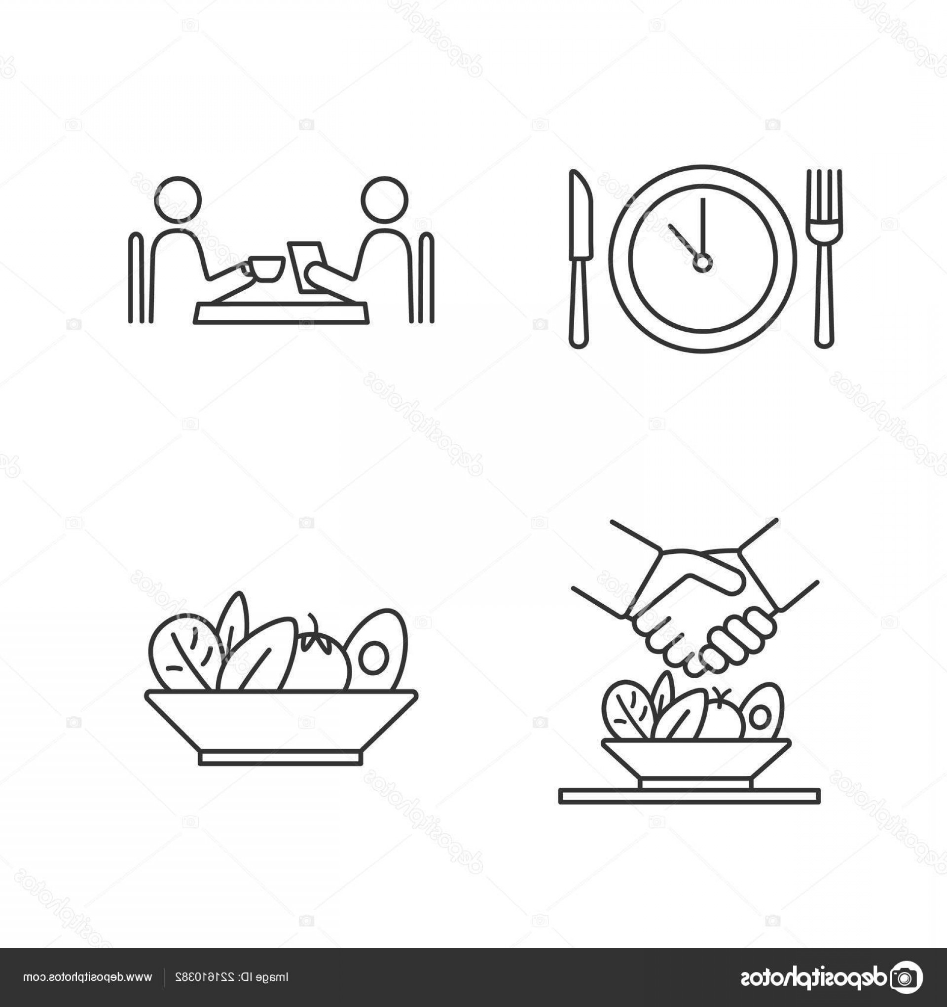 Business Lunch Clip Art Vector: Stock Illustration Business Lunch Linear Icons Set