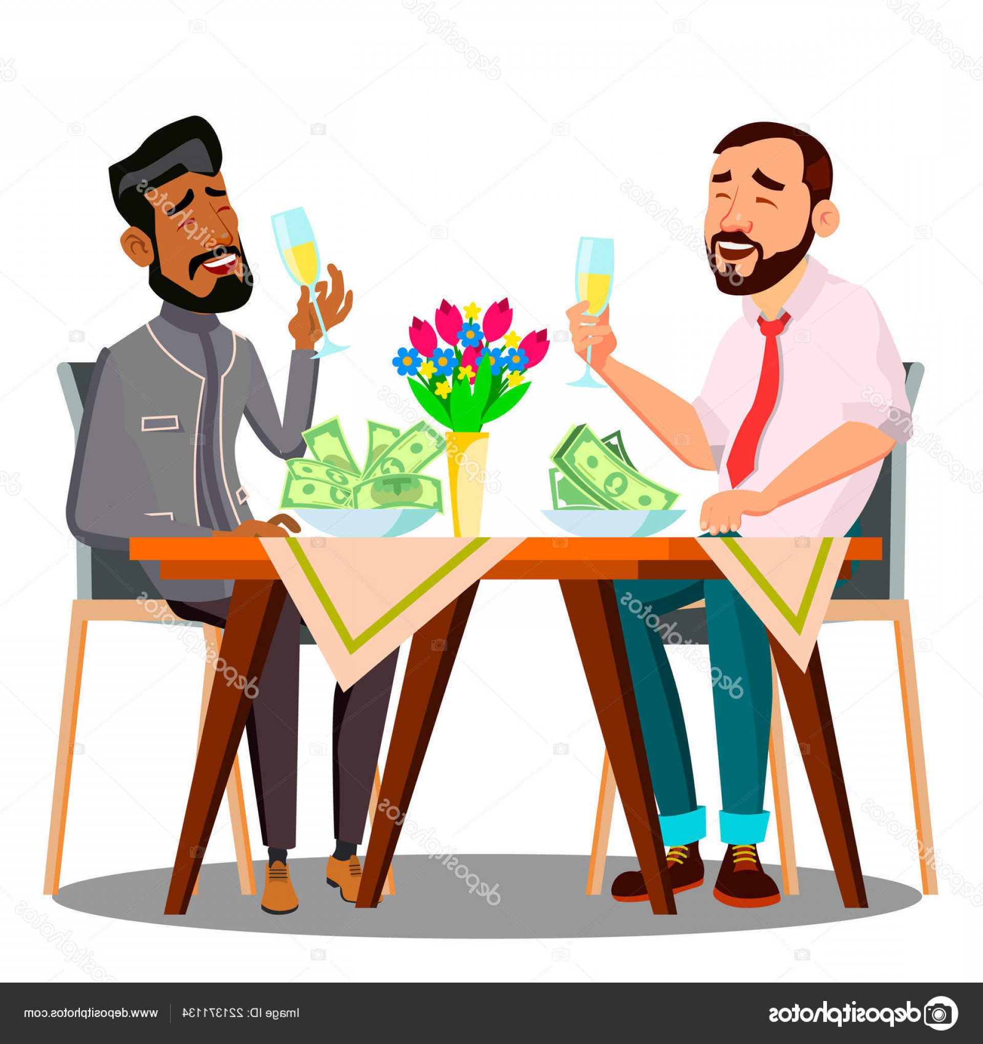 Business Lunch Clip Art Vector: Stock Illustration Business Lunch Two People At