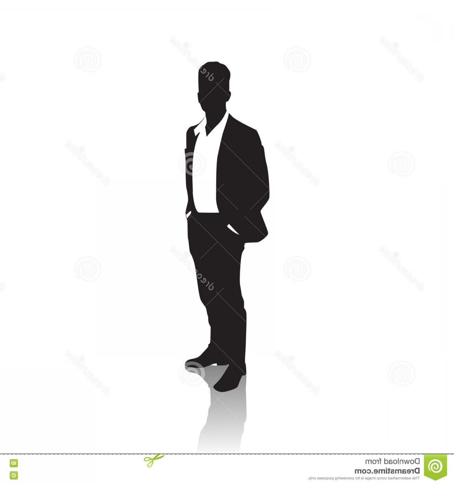 James Bond Silhouette Vector: Stock Illustration Business Man Black Silhouette Standing Full Length Over White Background Hands Pockets Vector Illustration Image