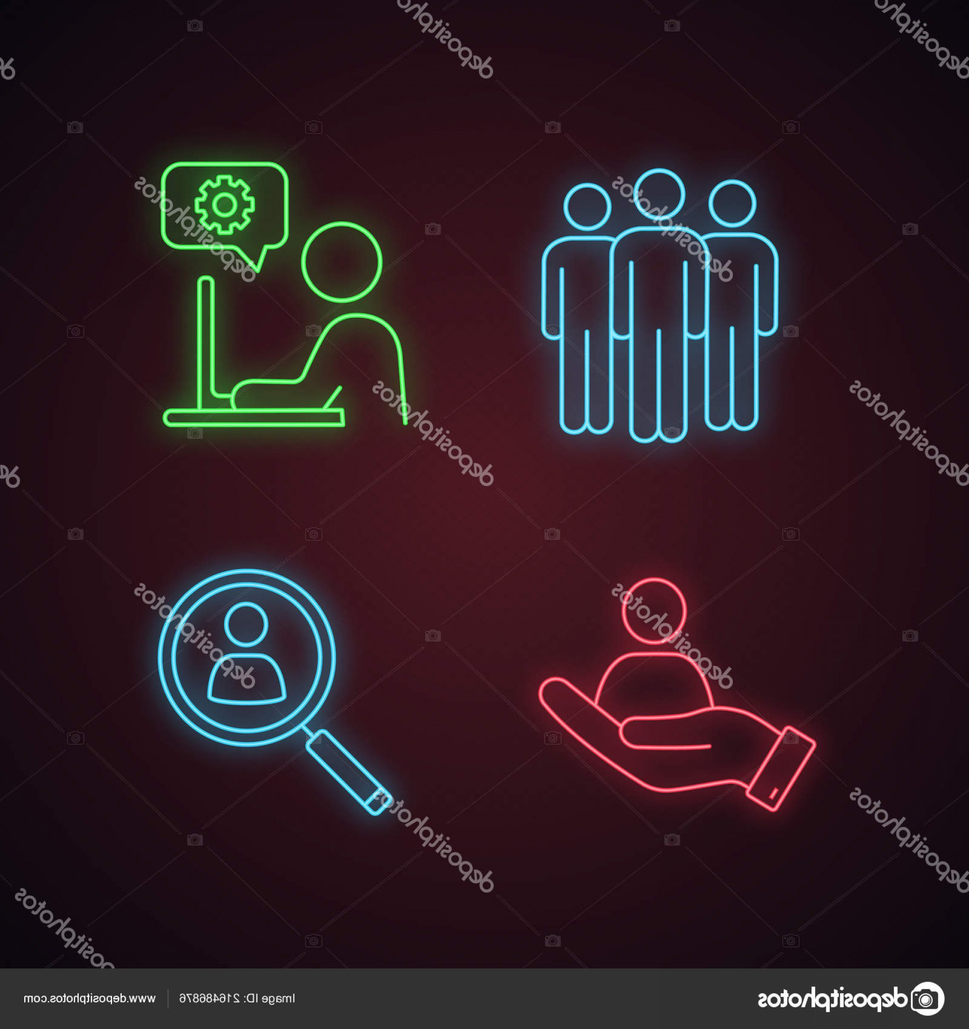Support Staff Vector: Stock Illustration Business Management Neon Light Icons