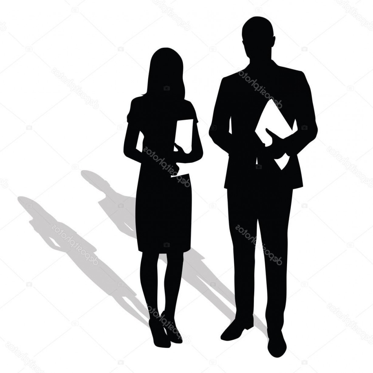 Silhouette Hee High Vector Lsitleetios: Stock Illustration Business People Holding Papers Documents