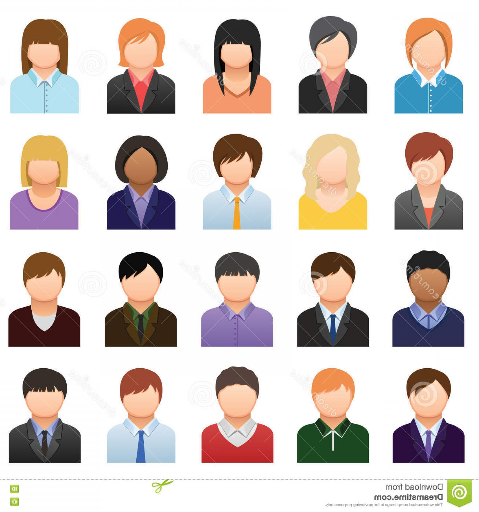 Free Vector Business People Icon: Stock Illustration Business People Icons Color Vector Image