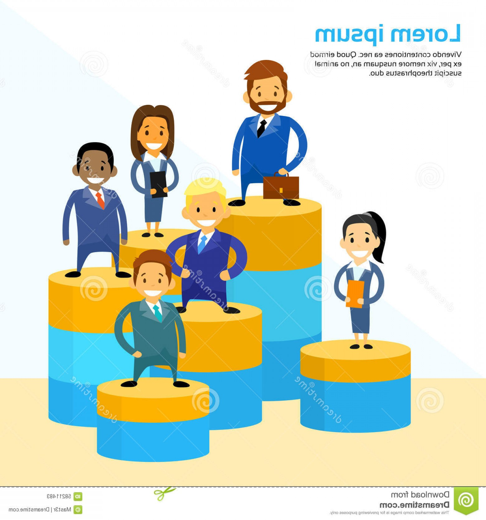 Growth Vector People: Stock Illustration Business People Standing Financial Circle Graph Cartoon Businesspeople Team Vector Growth Chart Illustration Image