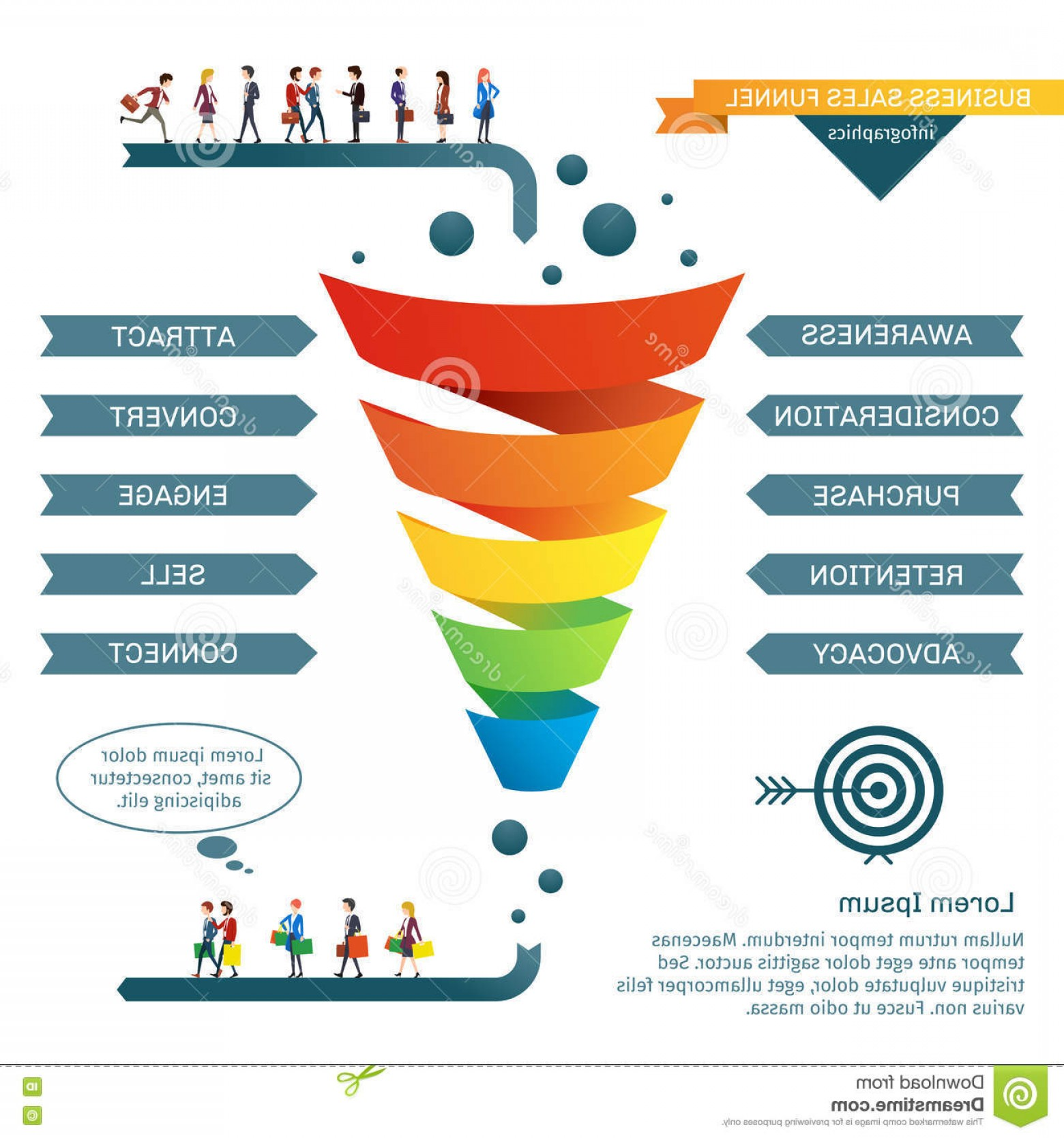 Vector Funnel Infographic: Stock Illustration Business Sales Funnel Vector Infographics Strategy Marketing Illustration Colored Image