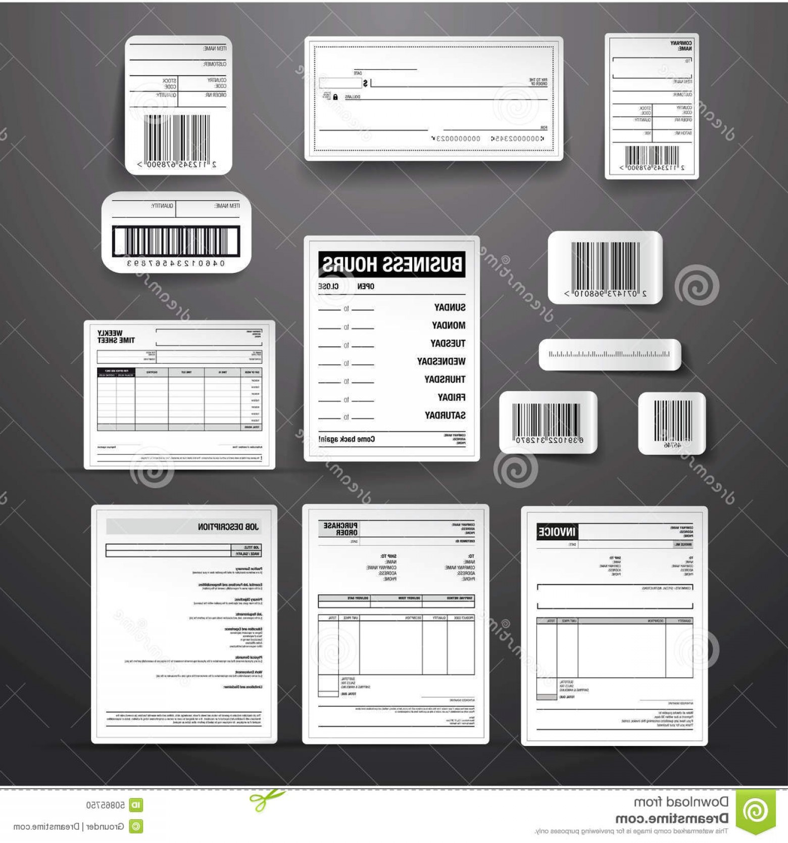 Vectors Job Description: Stock Illustration Business Template Vector Set Grey Barcode Label Order Invoice Job Description Time Sheet Check Image
