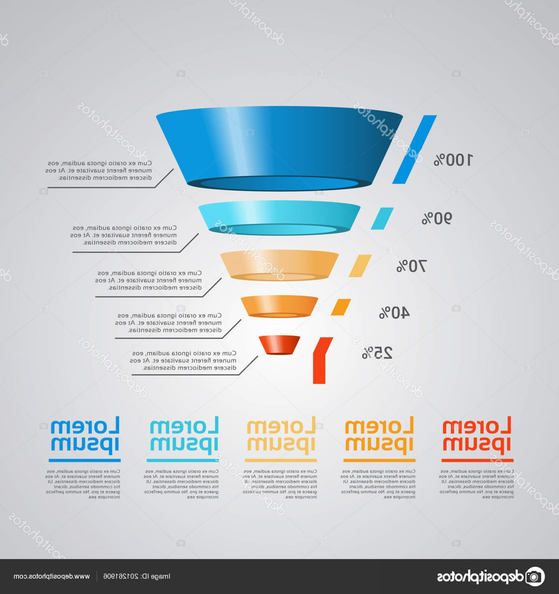 Vector Funnel Infographic: Stock Illustration Business Timeline Process Chart Infographics