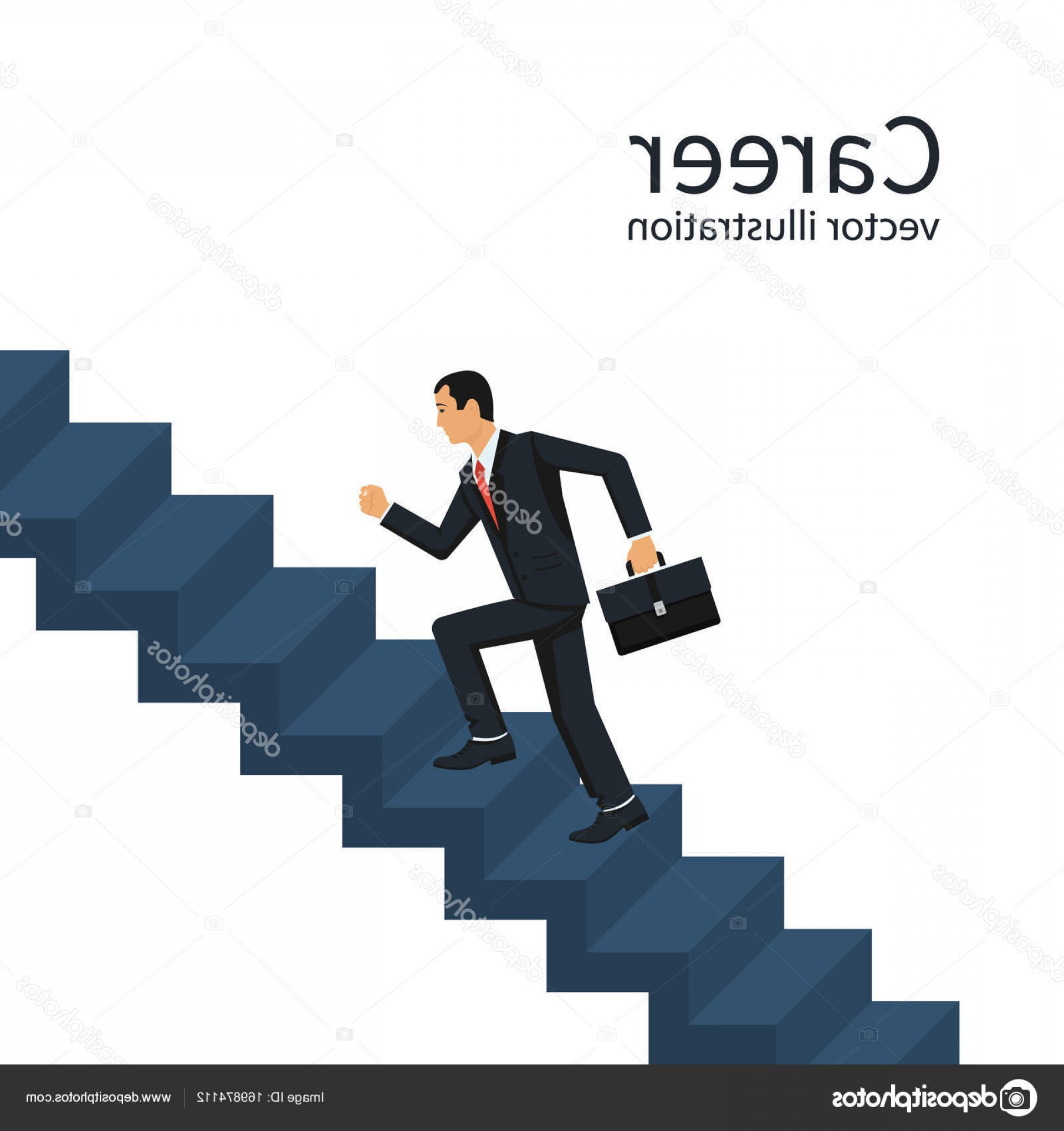Vector Career Ladder: Stock Illustration Businessman Is Climbing Career Ladder