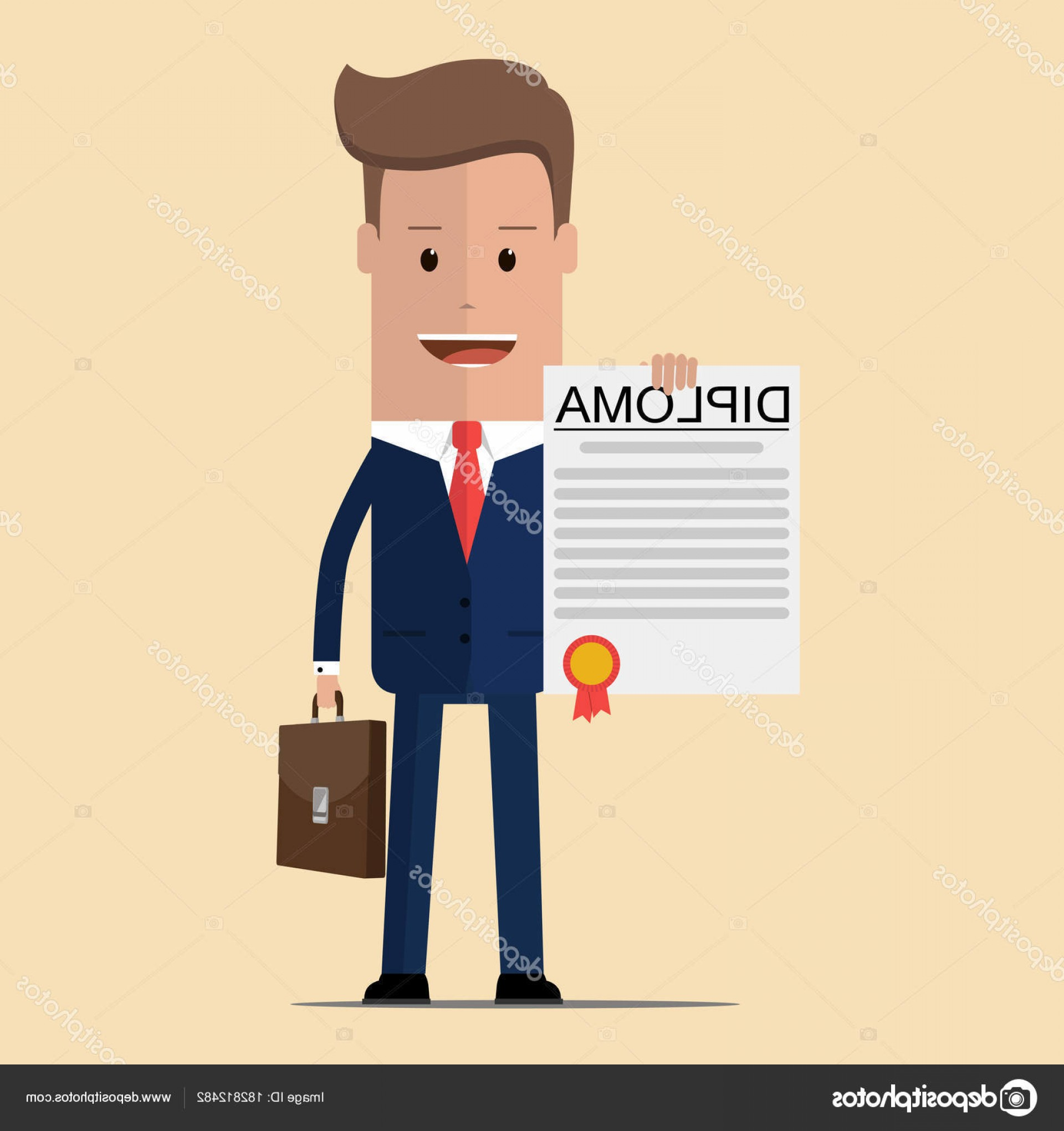 Standing Diploma Vector: Stock Illustration Businessman Proudly Standing And Showing