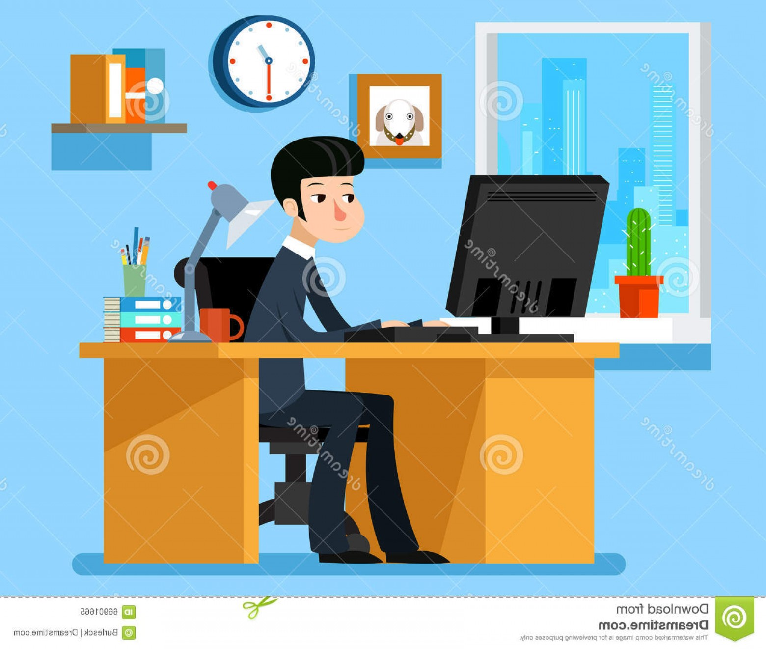 Vector Man Working In Cabin: Stock Illustration Businessman Working Office Desk Computer Vector Illustration Flat Style Work Man Image