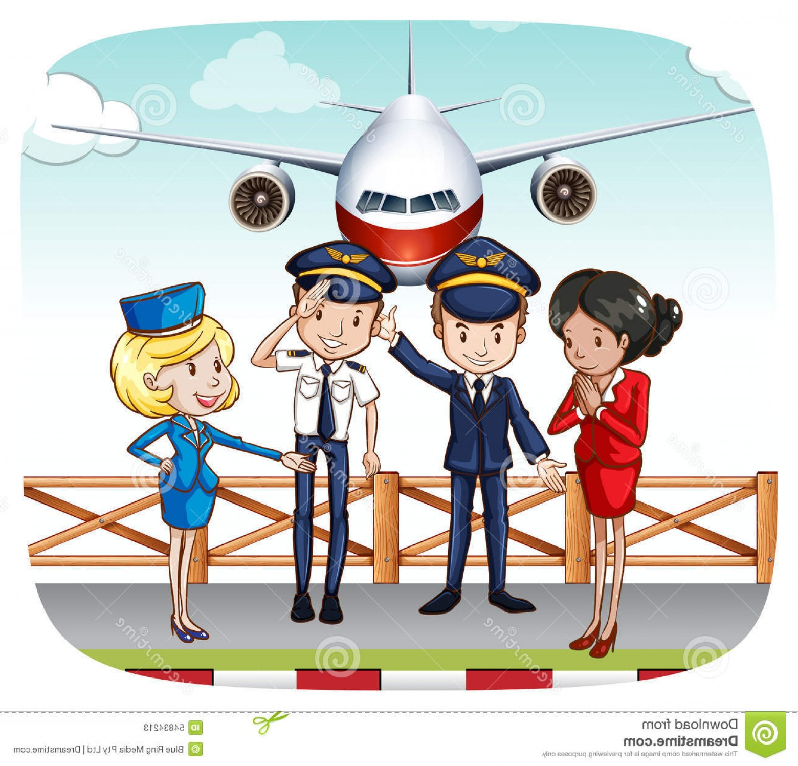 Vector Man Working In Cabin: Stock Illustration Cabin Crew Pilots Flight Attendants Greeting Airport Image